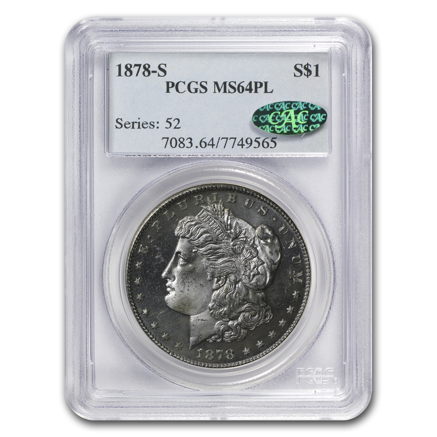 1878-S Morgan Dollar MS-64 PL PCGS (CAC)