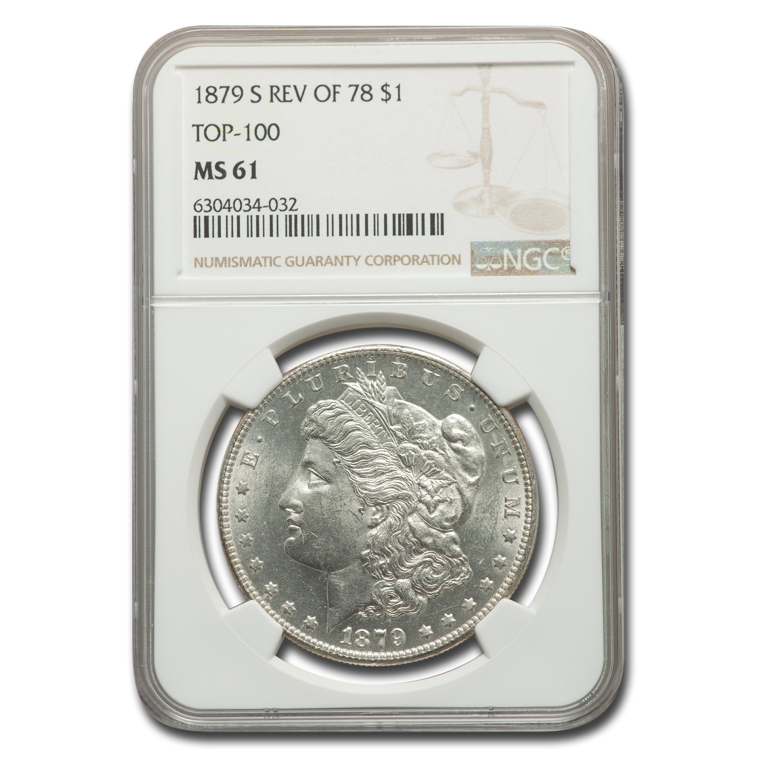 1879-S Morgan Dollar - Reverse of 1878 - MS-61 NGC Top-100