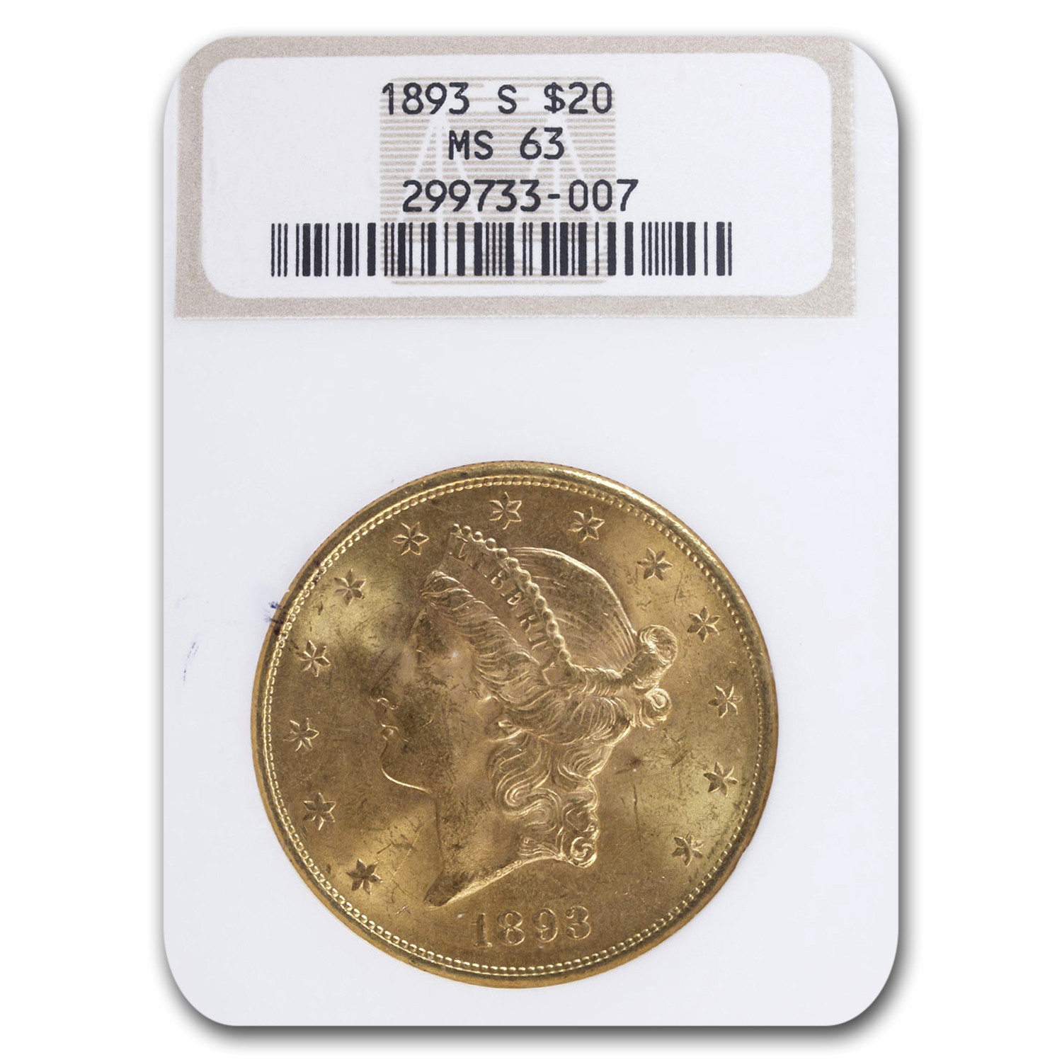 1893-S $20 Gold Liberty Double Eagle - MS-63 NGC