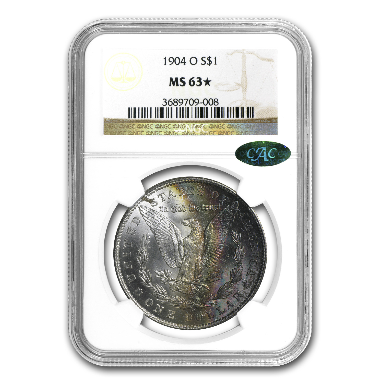 1904-O Morgan Dollar MS-63 NGC* (Star Designation, Toned, CAC)