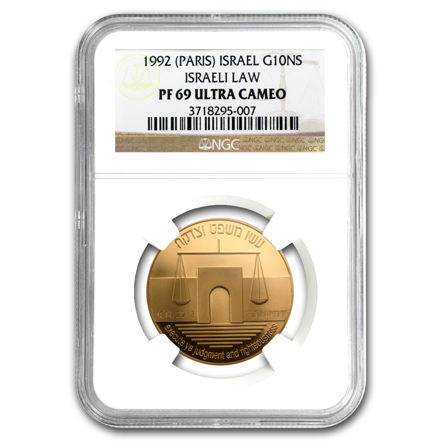 1992 Israel 1/2 oz Gold Israeli Law 10 NIS PF-69 NGC