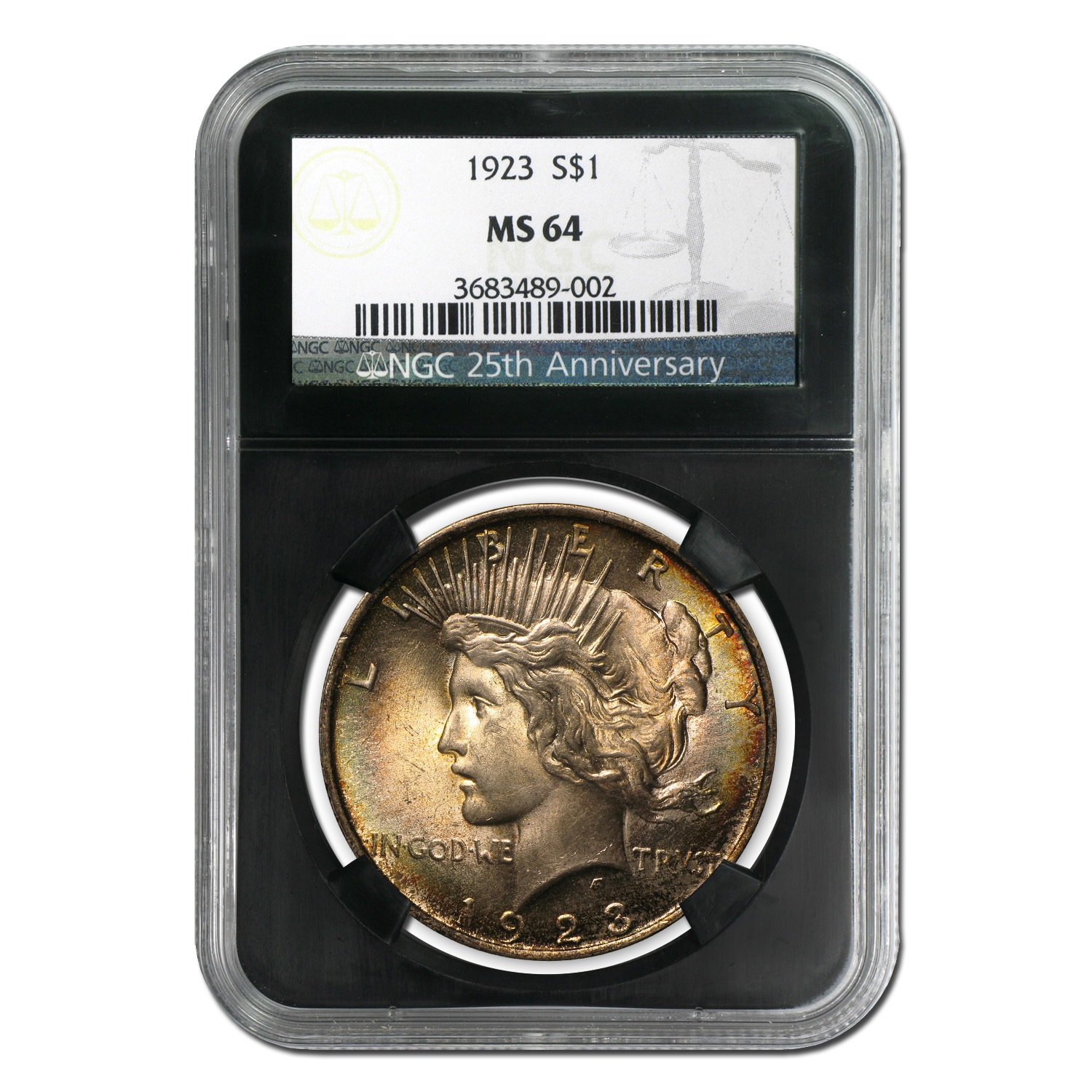 1923 Peace Dollar MS-64 NGC (Beautifully Toned)