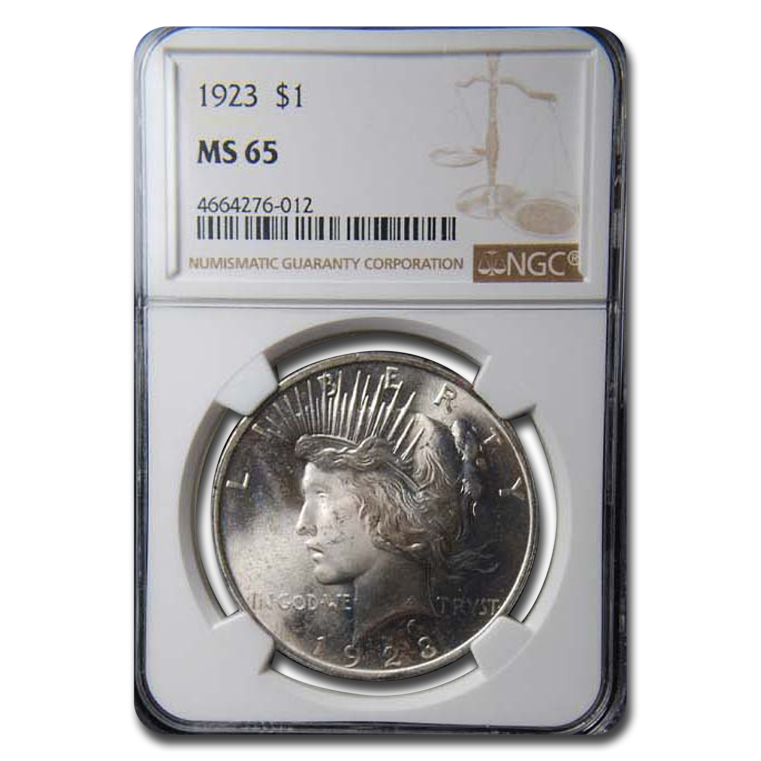 1923 Peace Dollar MS-65 NGC Toned