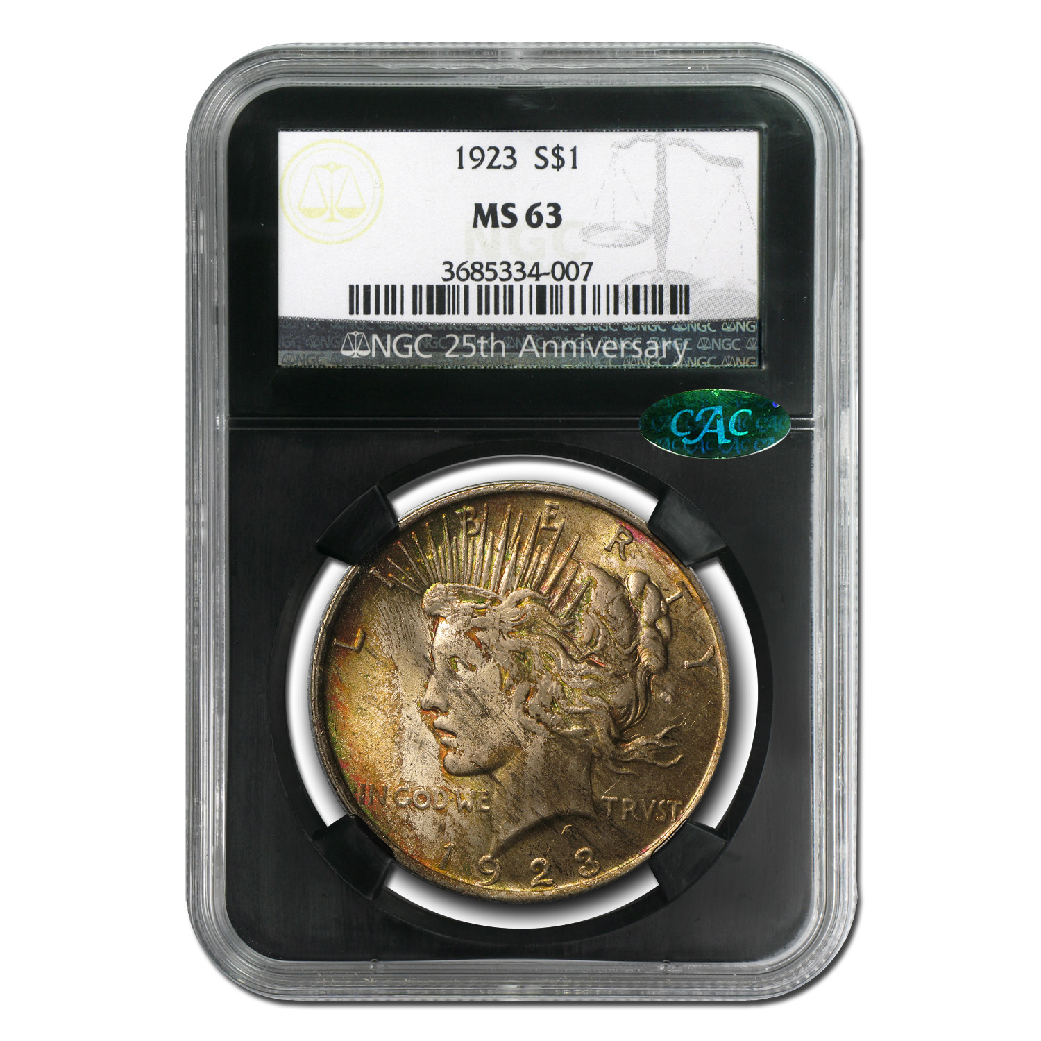 1923 Peace Dollar MS-63 NGC (CAC, Beautifully Toned)