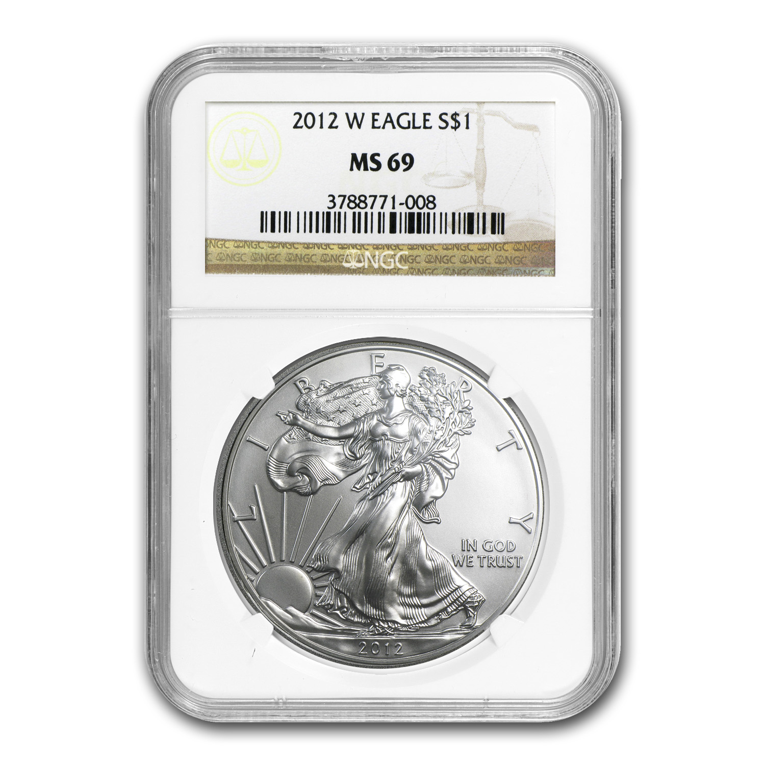 2012-W Burnished Silver American Eagle MS-69 NGC