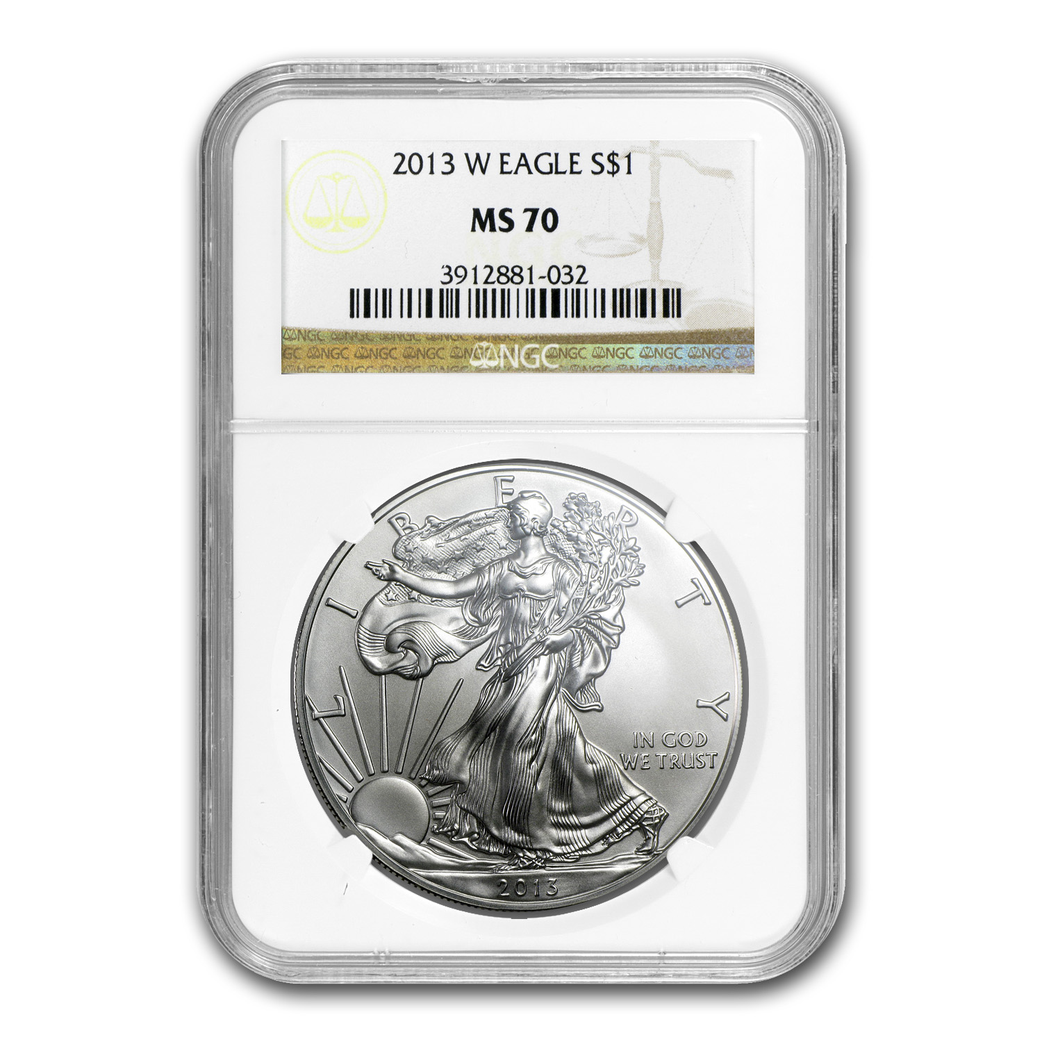 2013-W (Burnished) Silver American Eagle MS-70 NGC