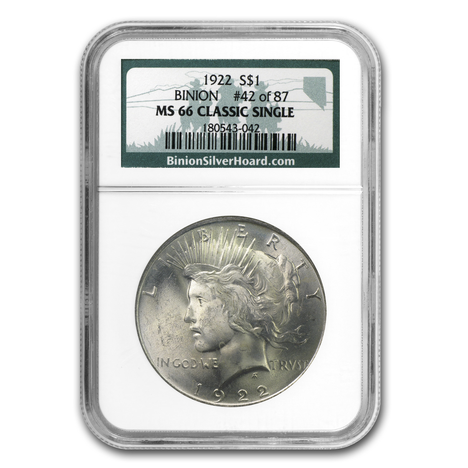 1922 Peace Dollar MS-66 NGC (Binion Collection)