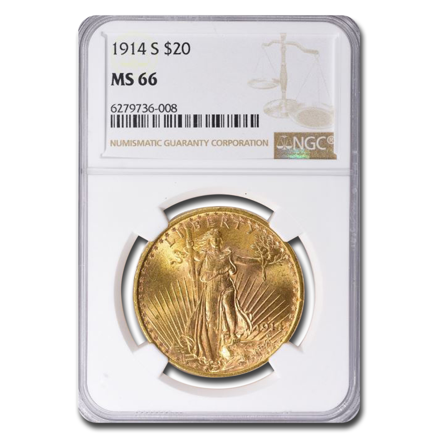 1914-S $20 St. Gaudens Gold Double Eagle MS-66 NGC