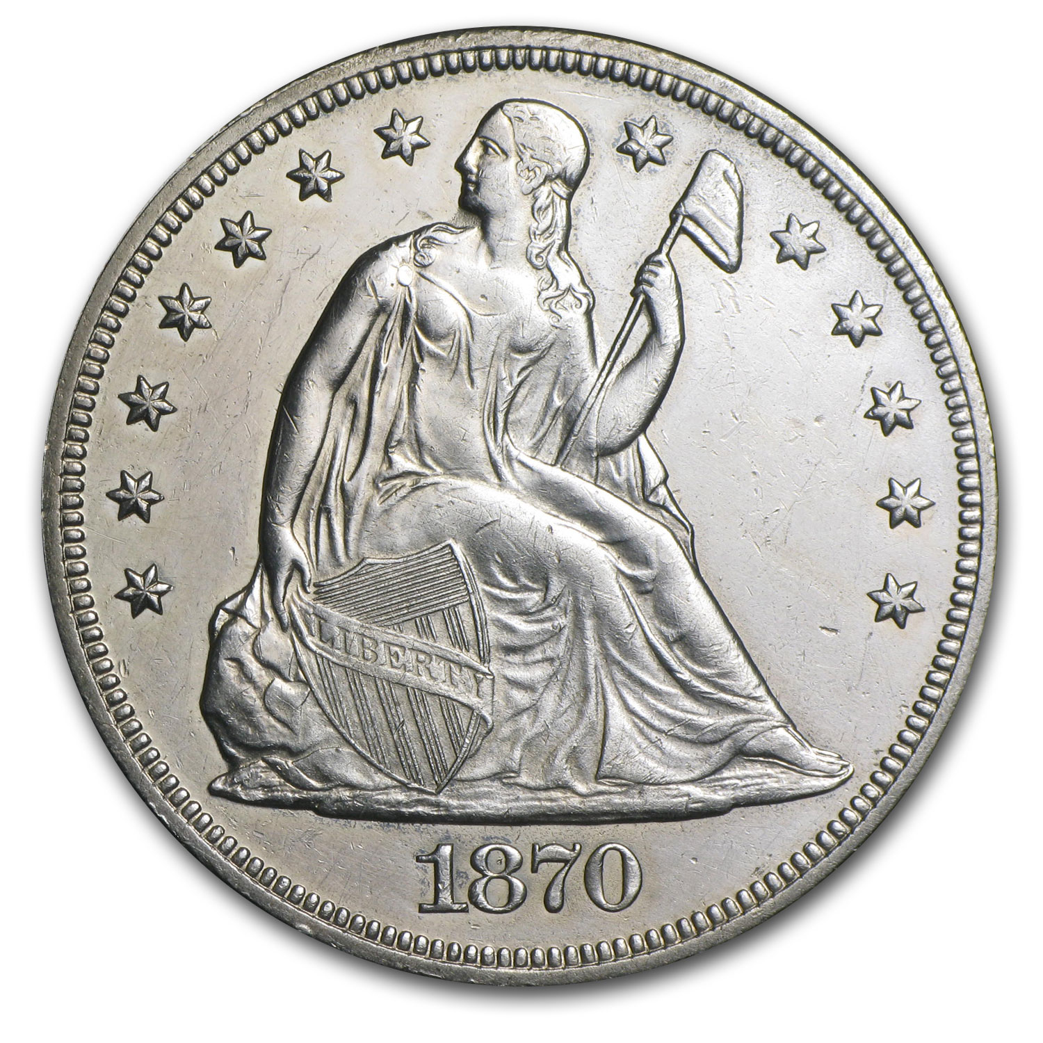 1870-CC Liberty Seated Dollar - Uncirculated Details - Cleaned