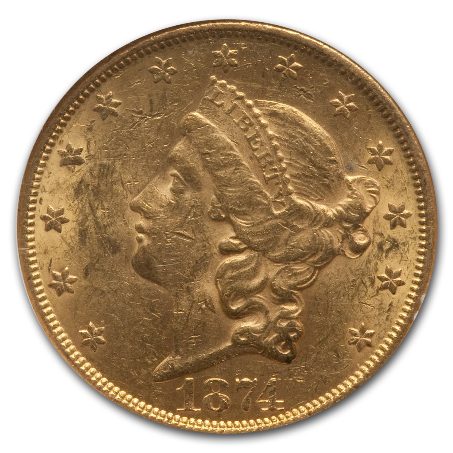 1874 $20 Liberty Gold Double Eagle AU-58 NGC