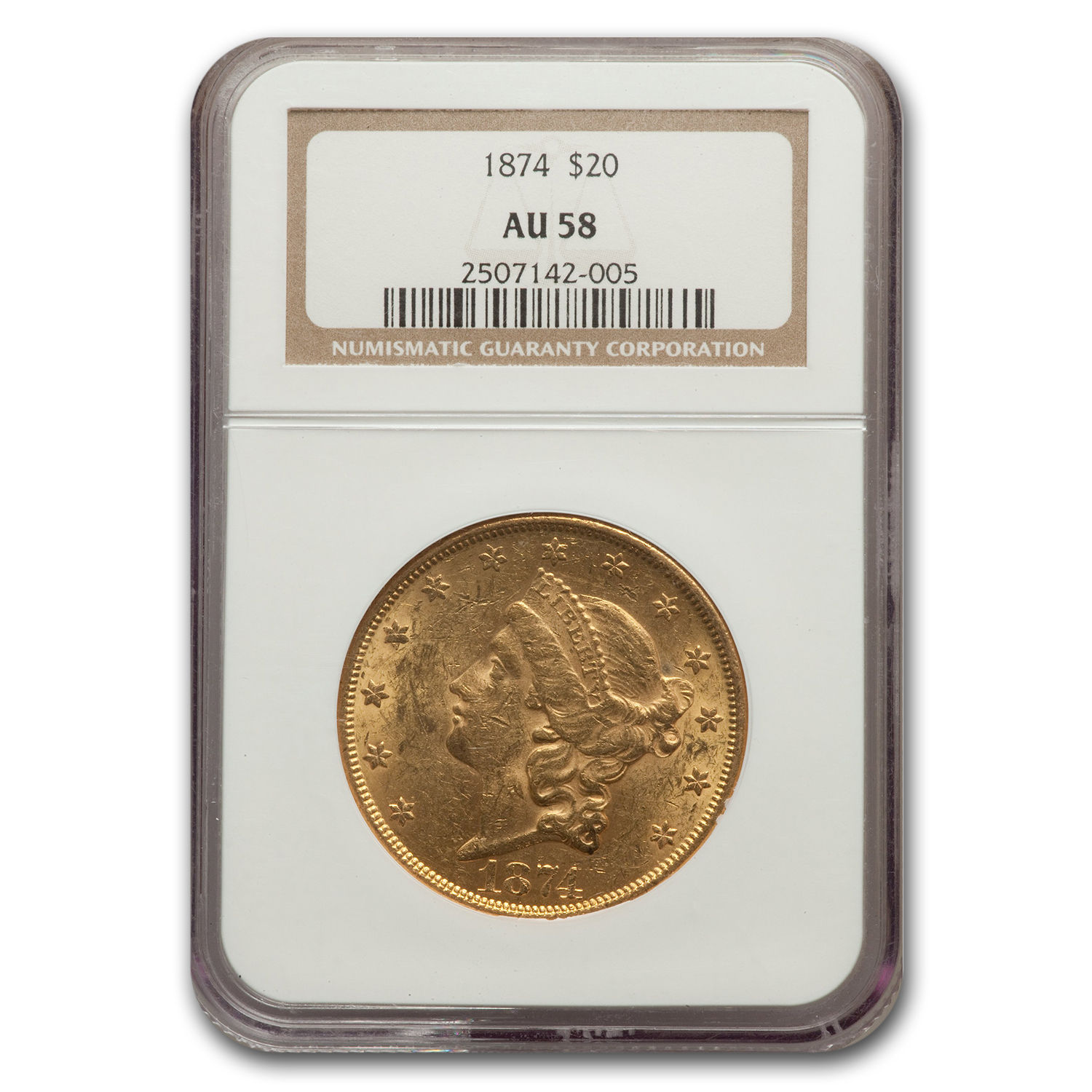 1874 $20 Gold Liberty Double Eagle - AU-58 NGC