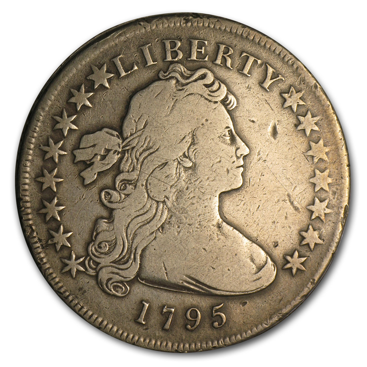 1795 Draped Bust Dollar Very Fine Details - Rim Bumps