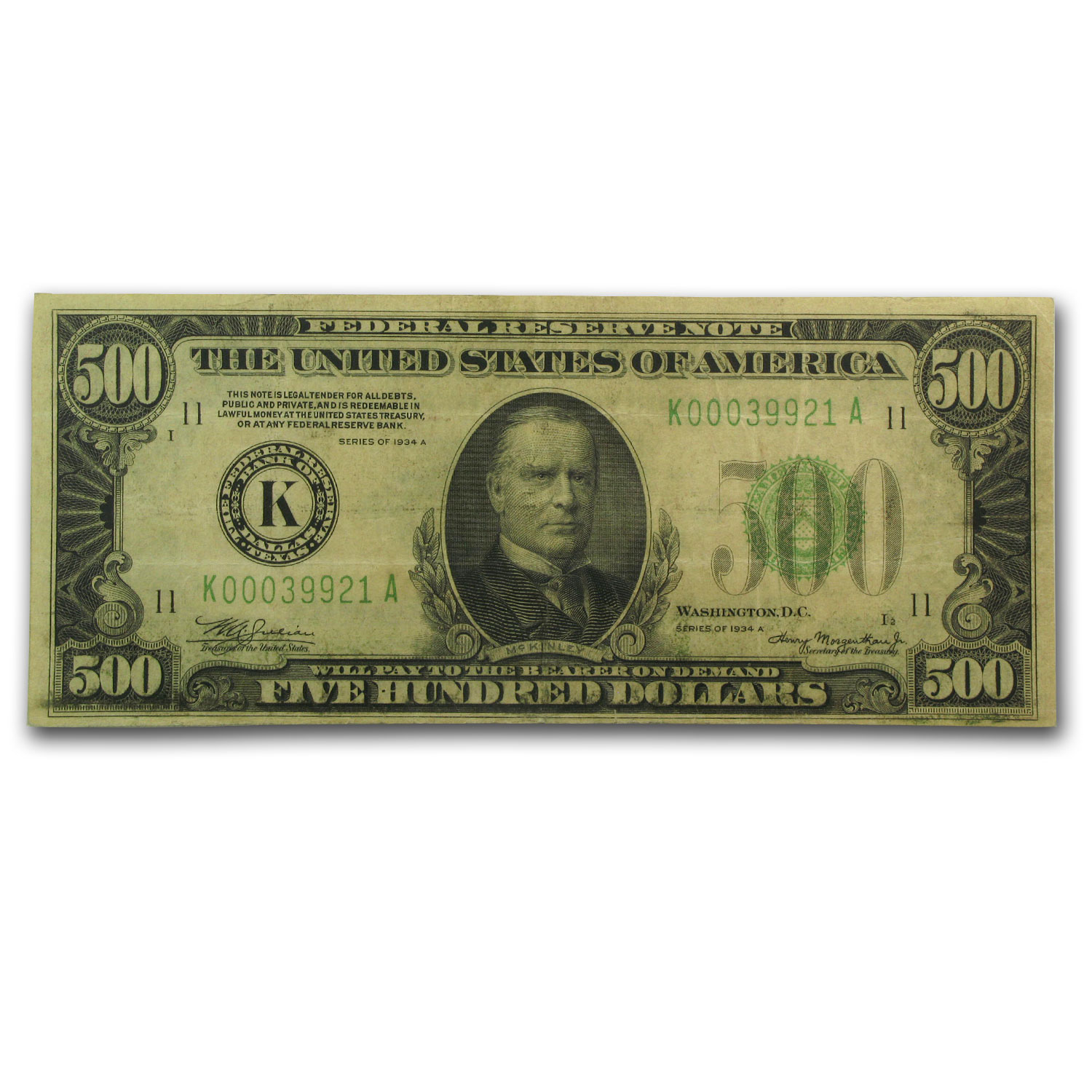 1934-A (K-Dallas) $500 FRN VF-30 App PCGS