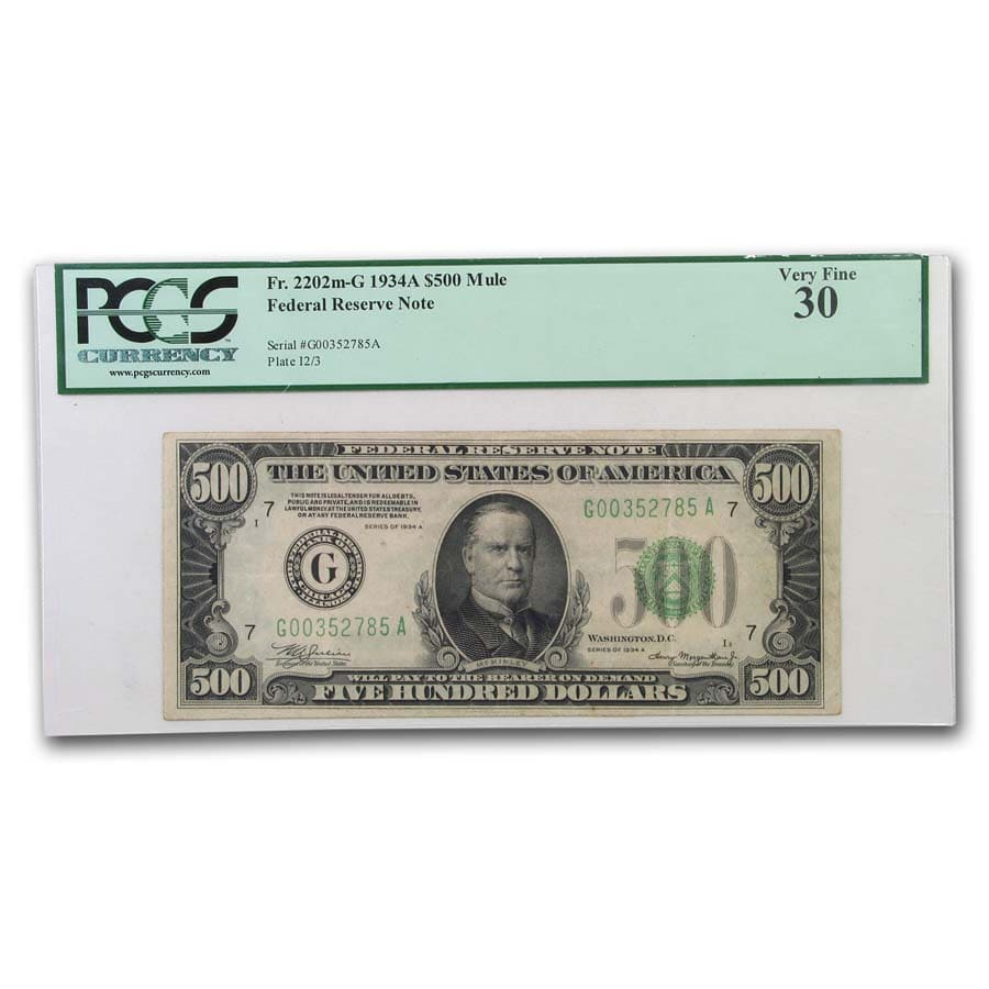 1934-A (G-Chicago) $500 FRN PCGS (Very Fine)-30)