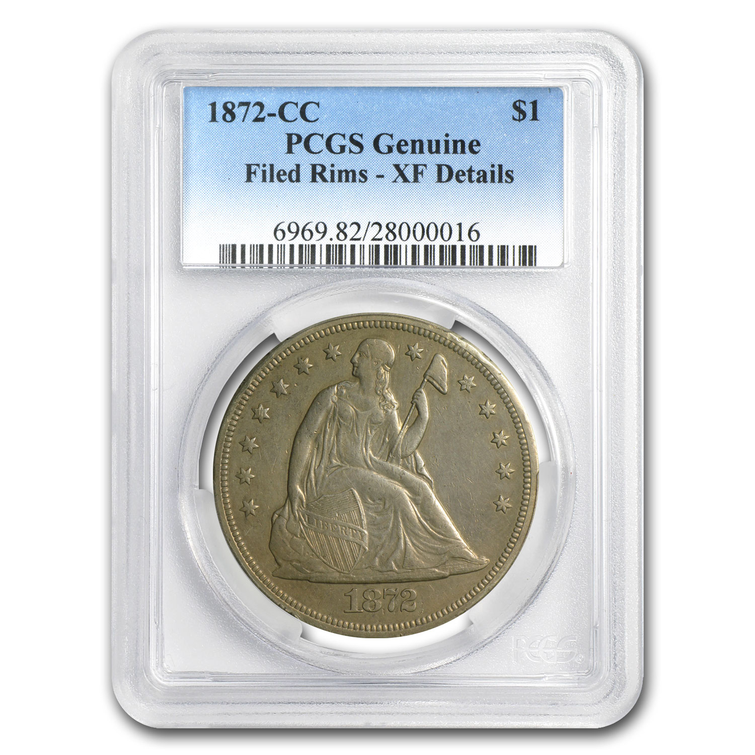 1872-CC Liberty Seated Dollar XF Details - Filed Rims PCGS