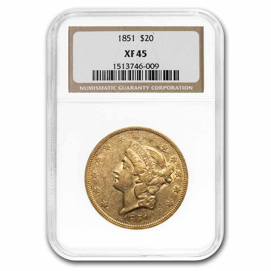 1851 $20 Liberty Gold Double Eagle XF-45 NGC