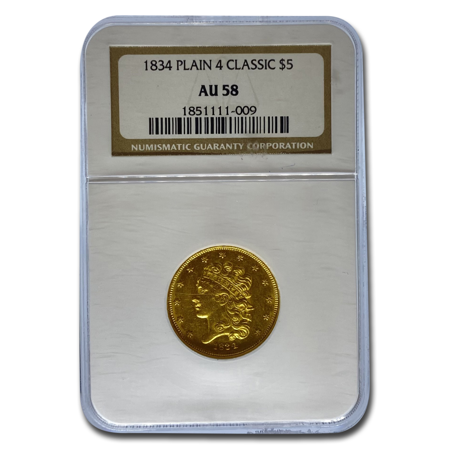 1834 $5 Gold Classic Head Half Eagle Plain 4 AU-58 NGC