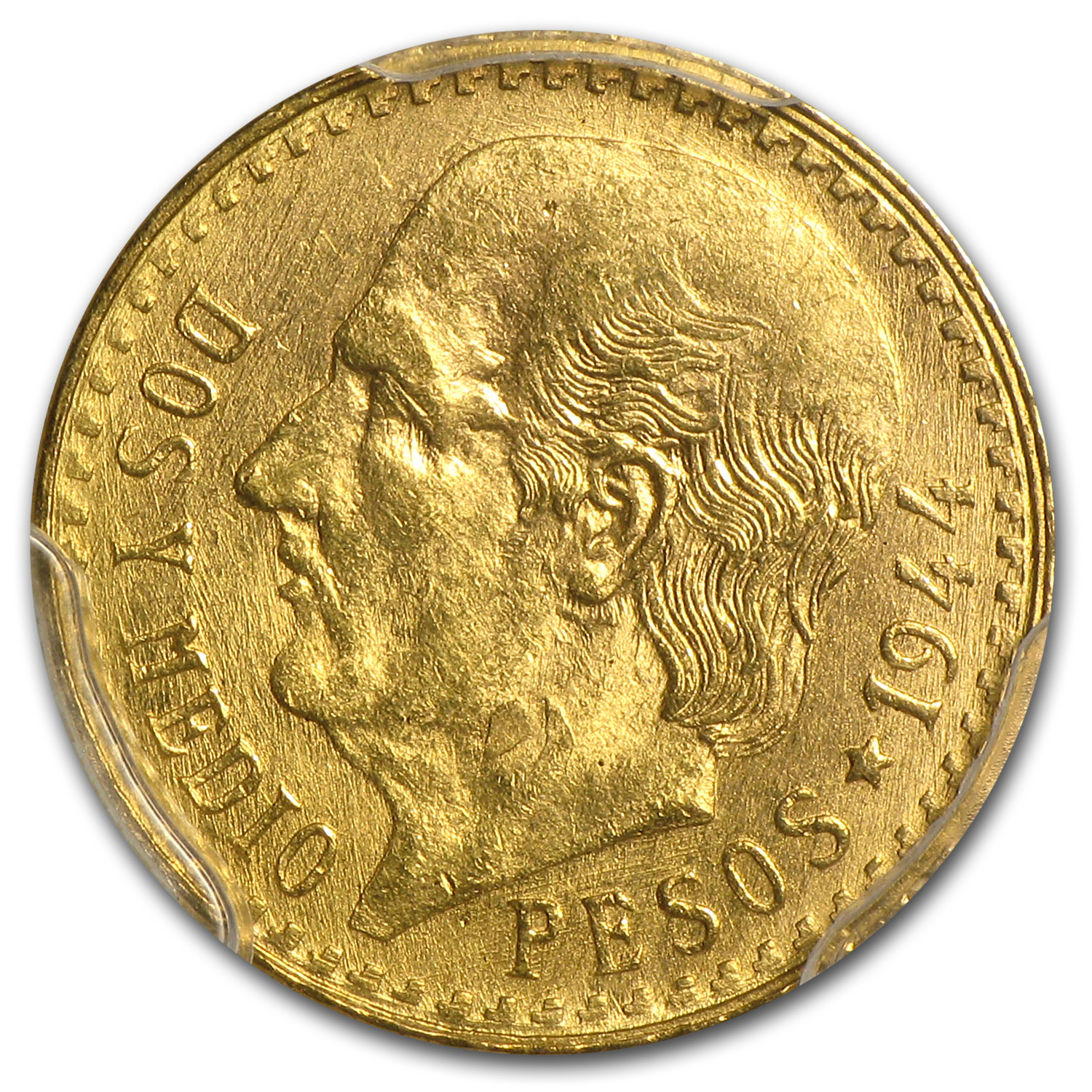 Mexico 1944 2 1/2 Pesos Gold Coin - MS-64 PCGS