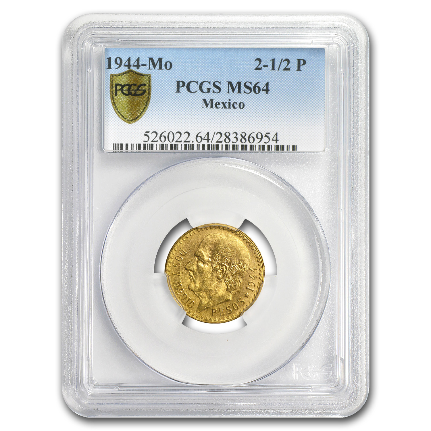 1944 Mexico Gold 2 1/2 Pesos MS-64 PCGS