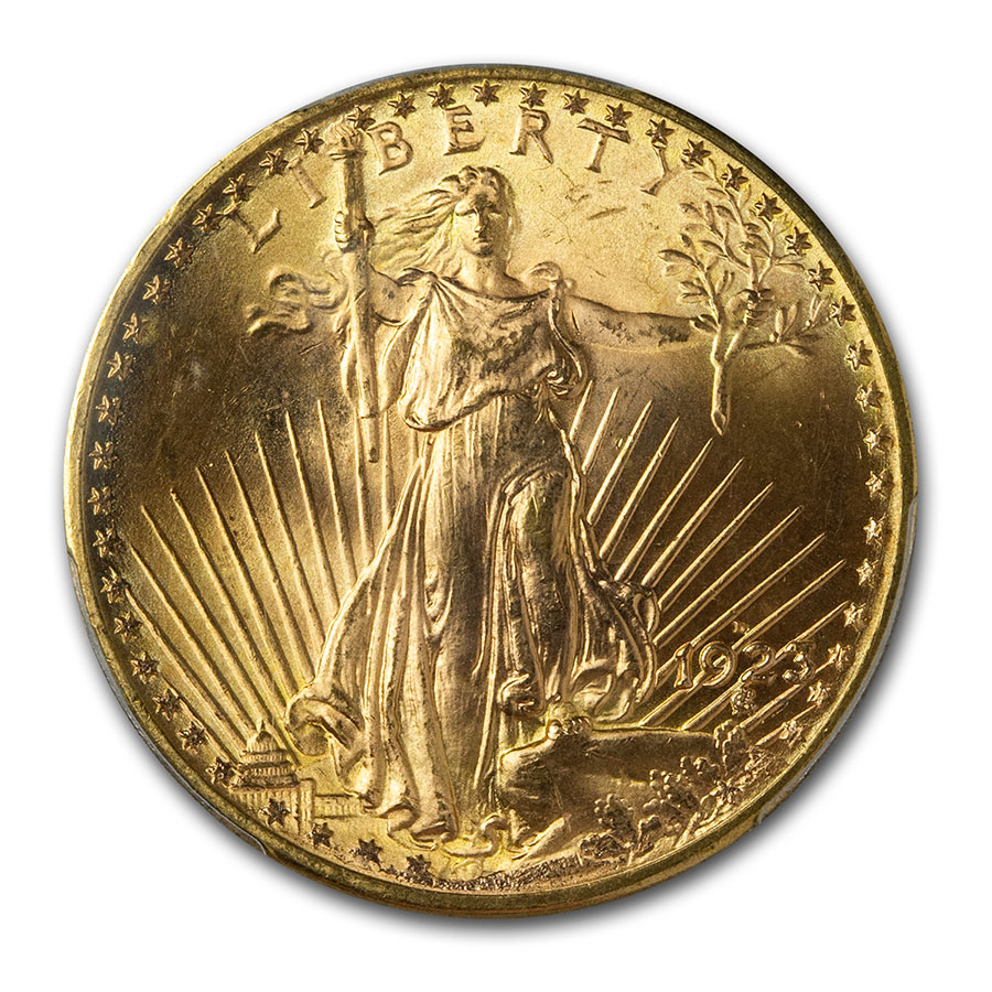 1923-D $20 St. Gaudens Gold Double Eagle - MS-65+ PCGS