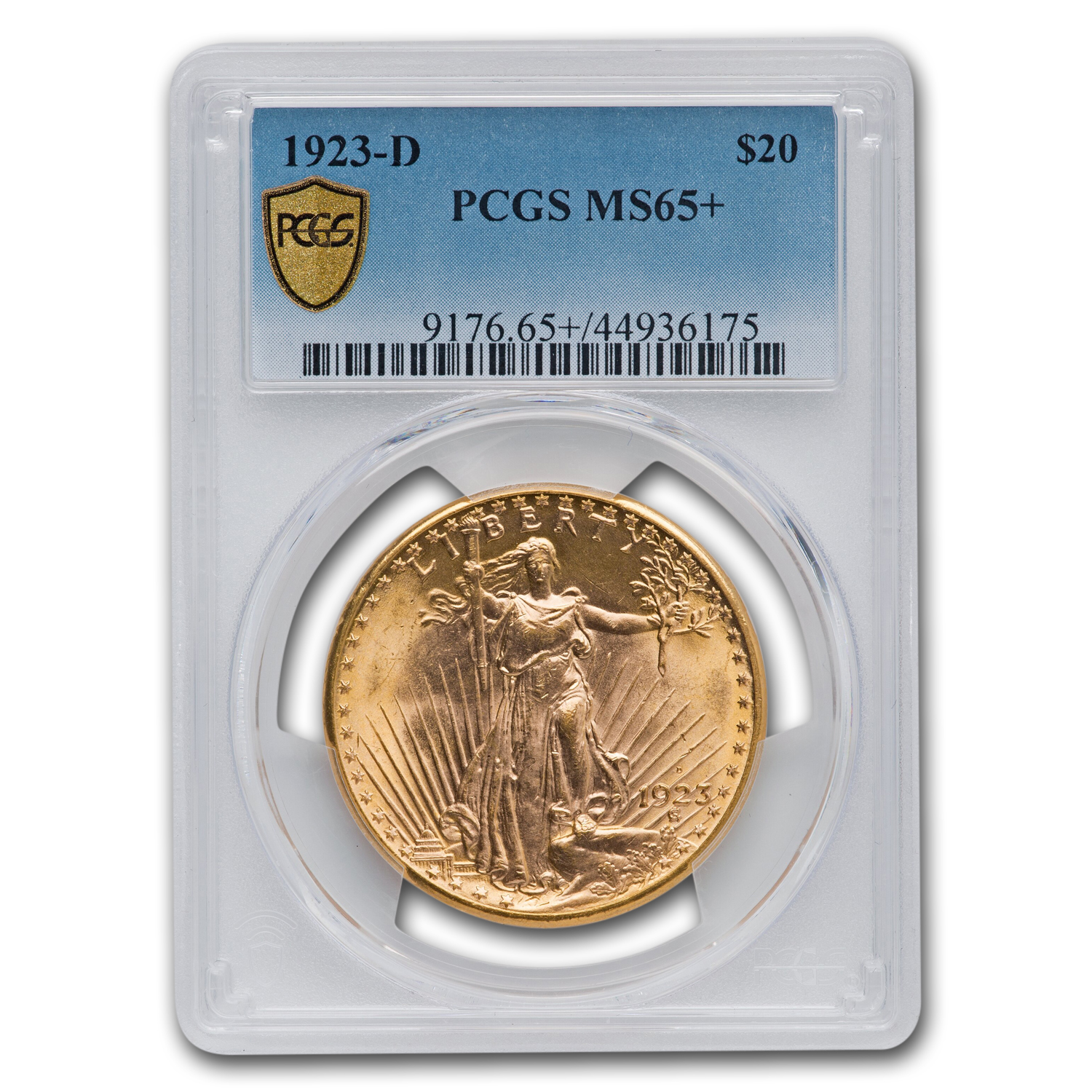 1923-D $20 St. Gaudens Gold Double Eagle MS-65+ PCGS