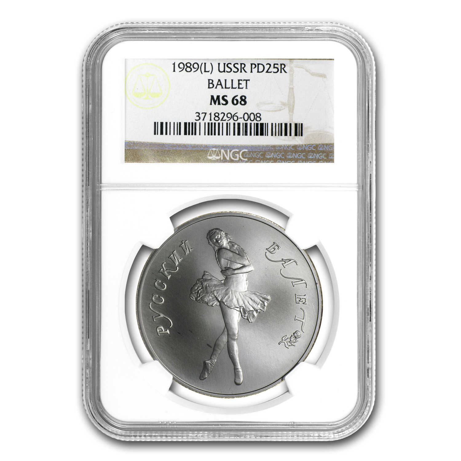 1989 1 oz Russian Palladium Ballerina (MS-68 NGC)