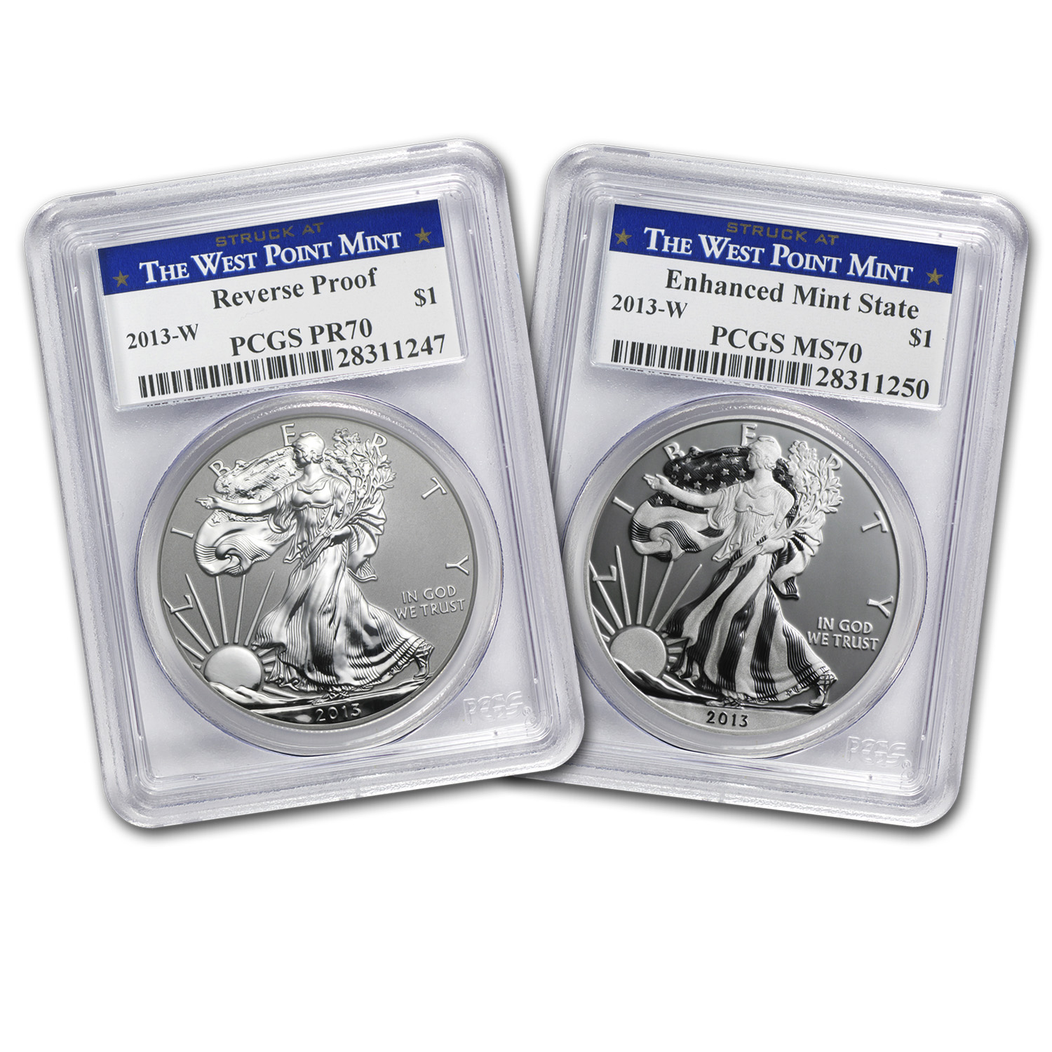 2013 2-Coin Silver American Eagle Set MS/PR-70 PCGS (West Point)