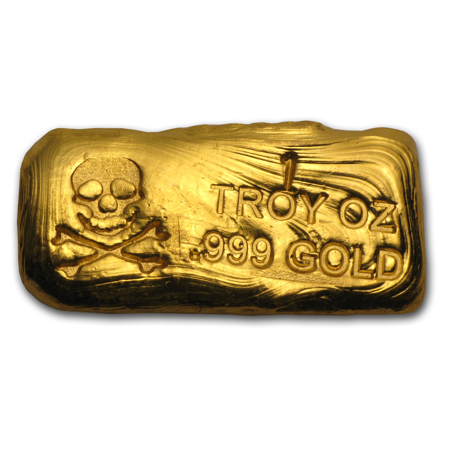 1 oz Gold Bar - Skull & Bones (PG&G)