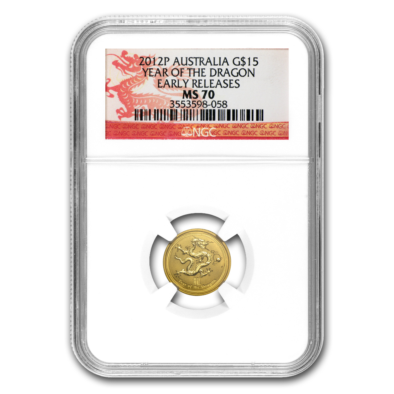 2012 1/10 oz Gold Lunar Year of the Dragon MS-70 NGC (SII, ER)