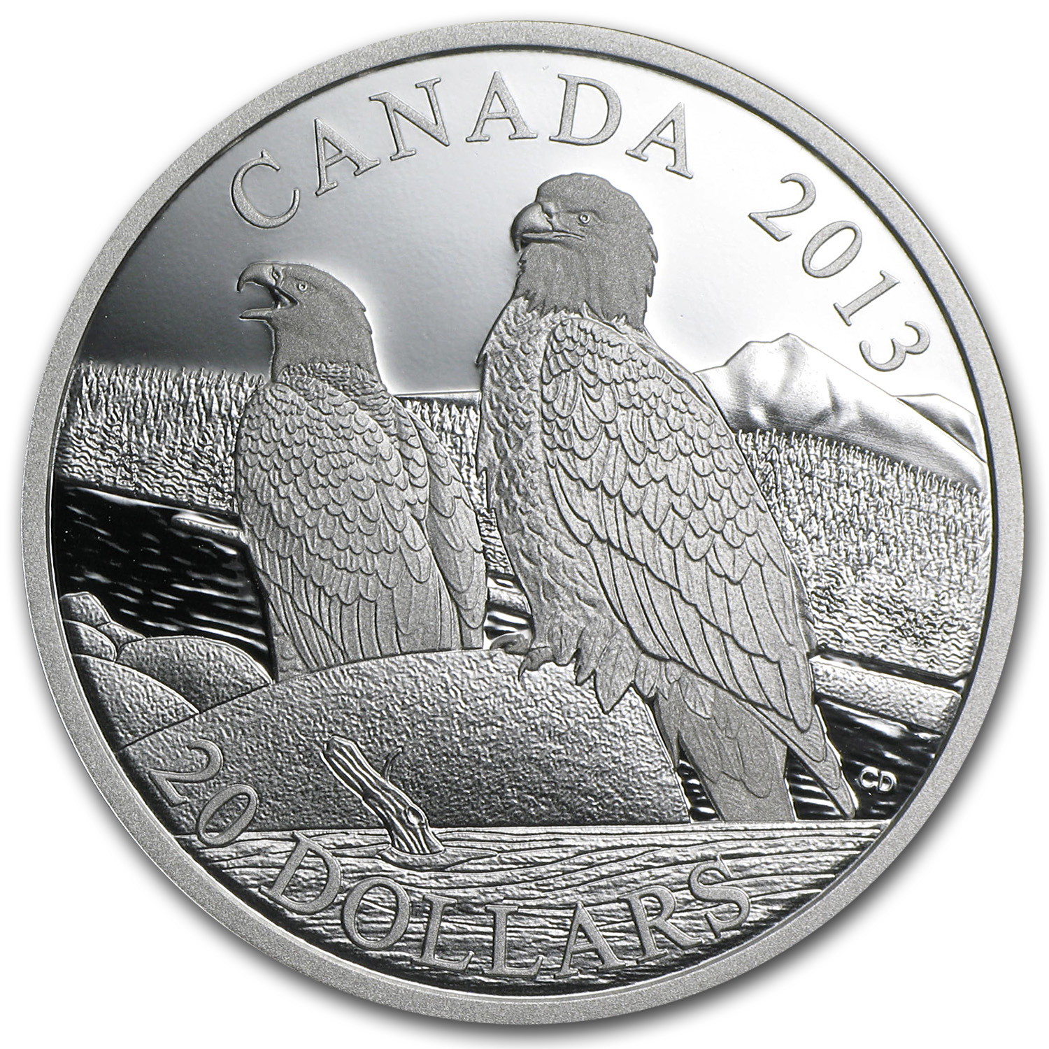 2013 1 oz Silver Canadian $20 - The Bald Eagle - Lifelong Mates