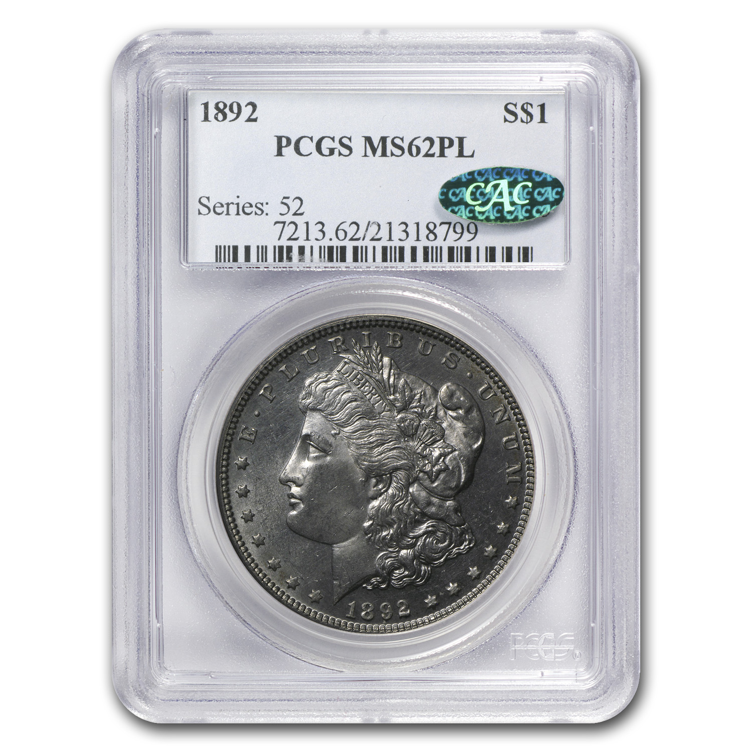 1892 Morgan Dollar MS-62 PL Proof Like PCGS (CAC)