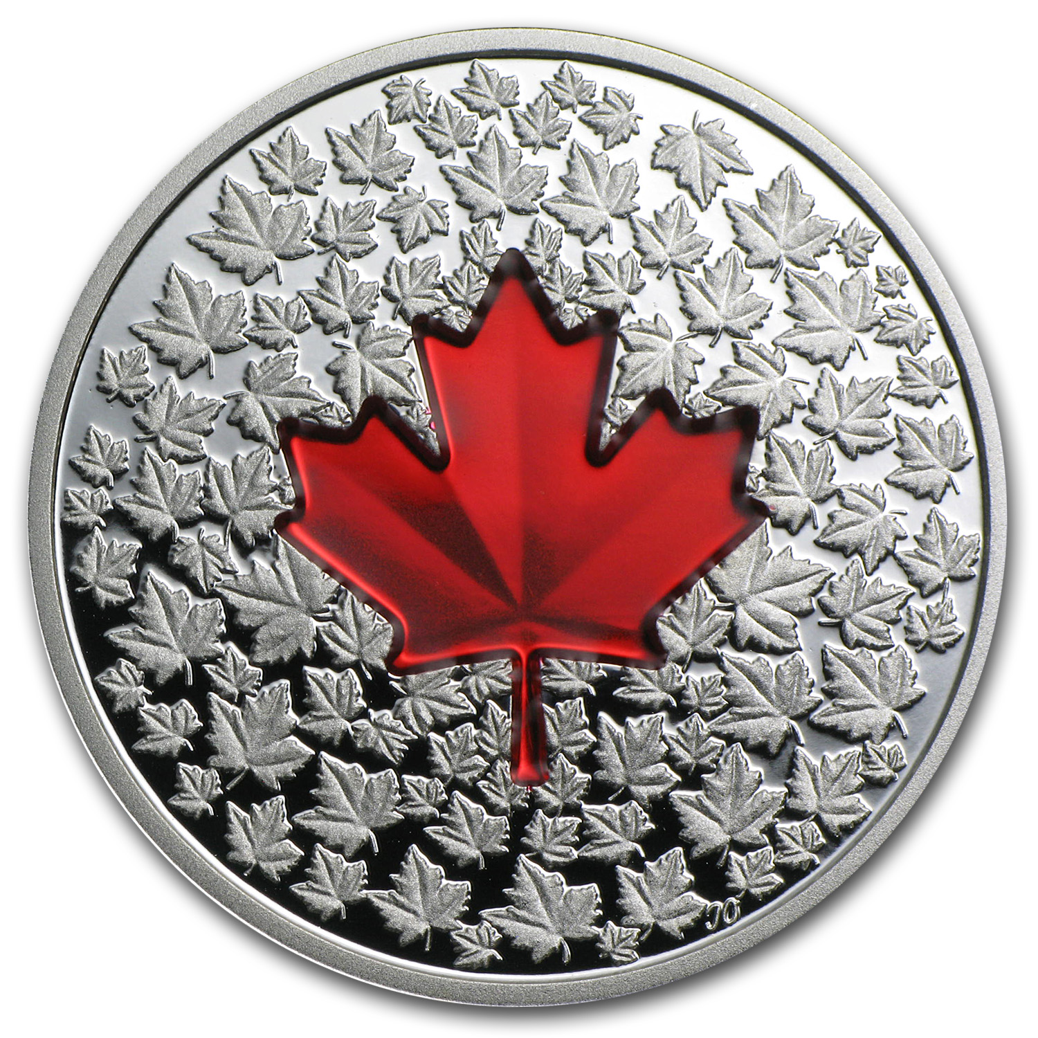 2013 1 oz Silver Canadian $20 Maple Leaf Impression - Red Enamel