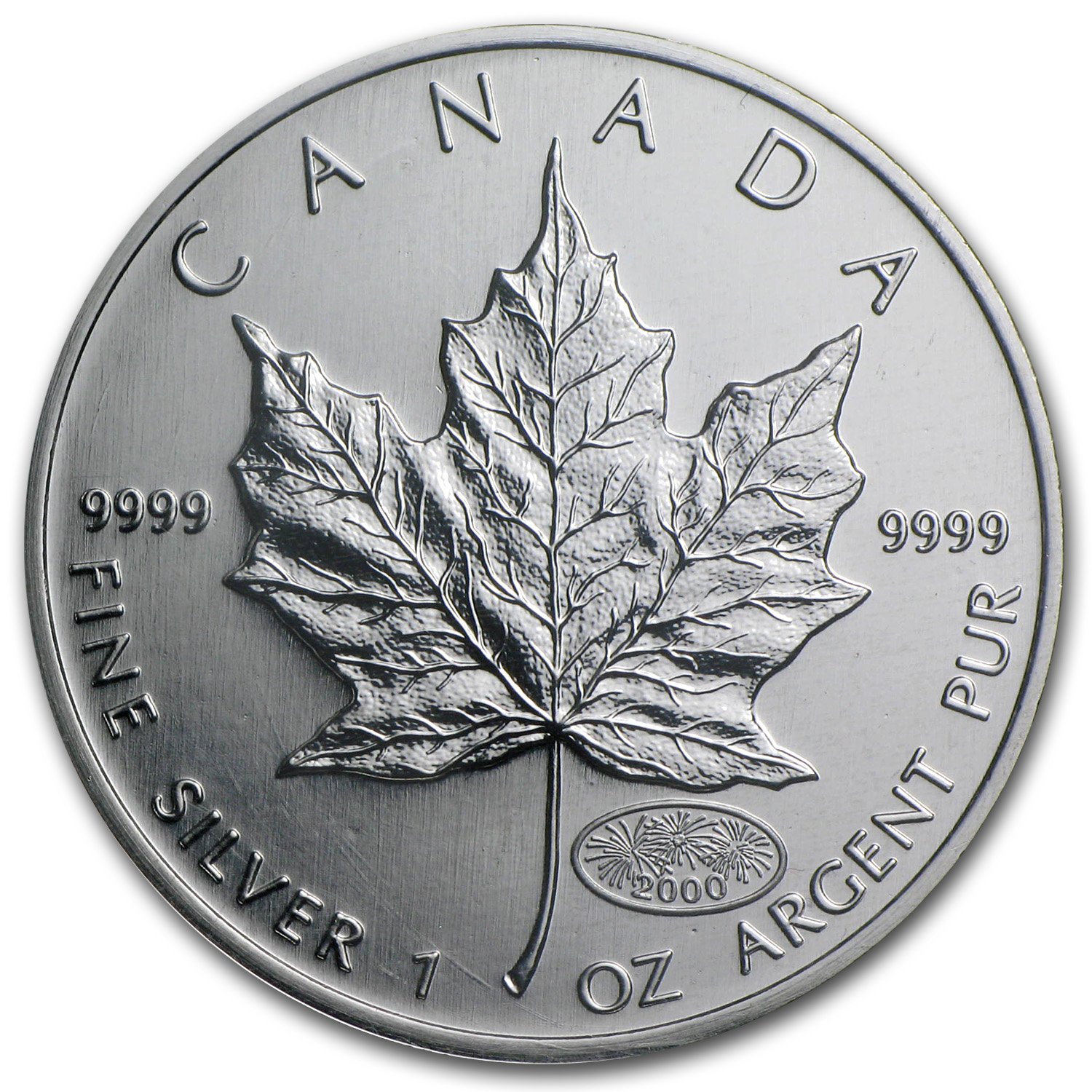 2000 Canada 1 oz Silver Maple Leaf Millennium Fireworks Privy