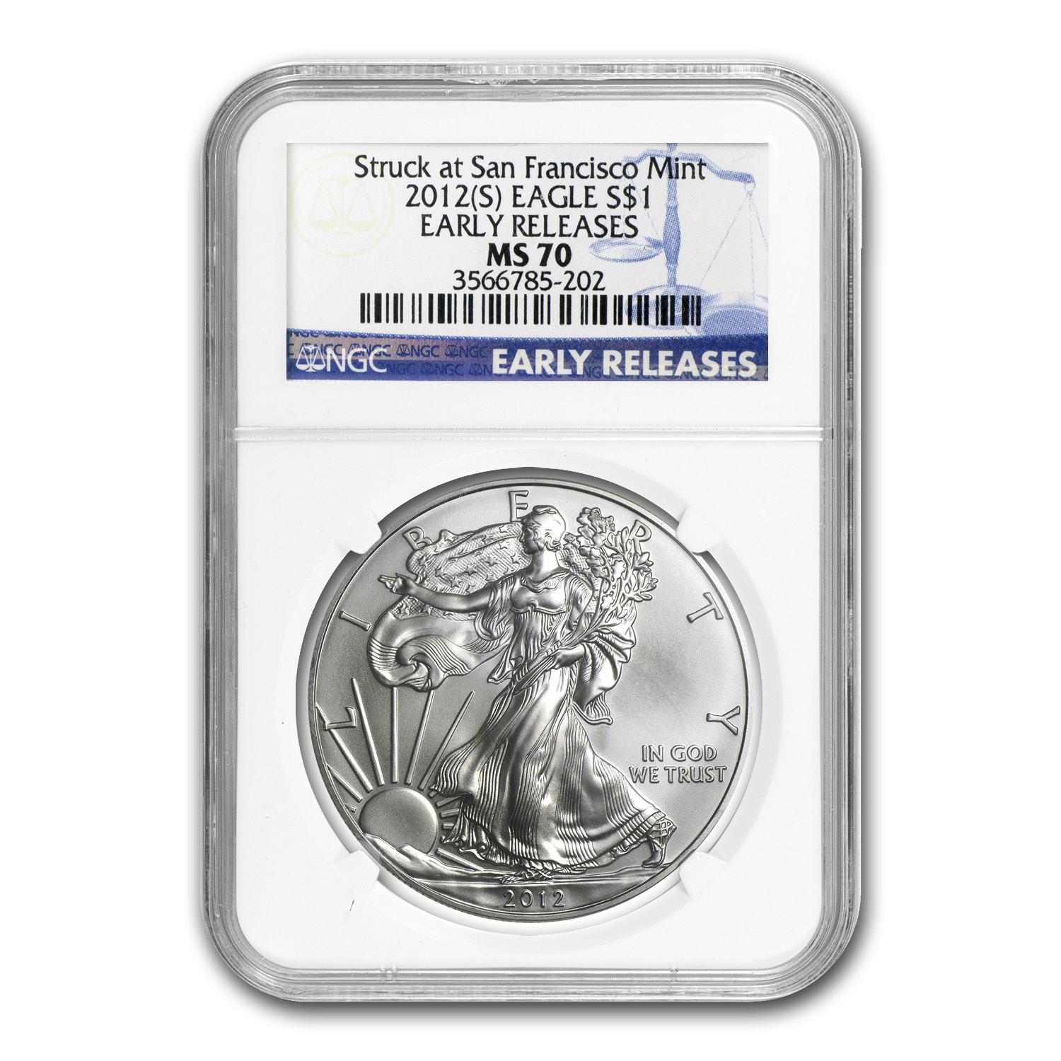 2012 (S) Silver American Eagle MS-70 NGC (Early Releases)