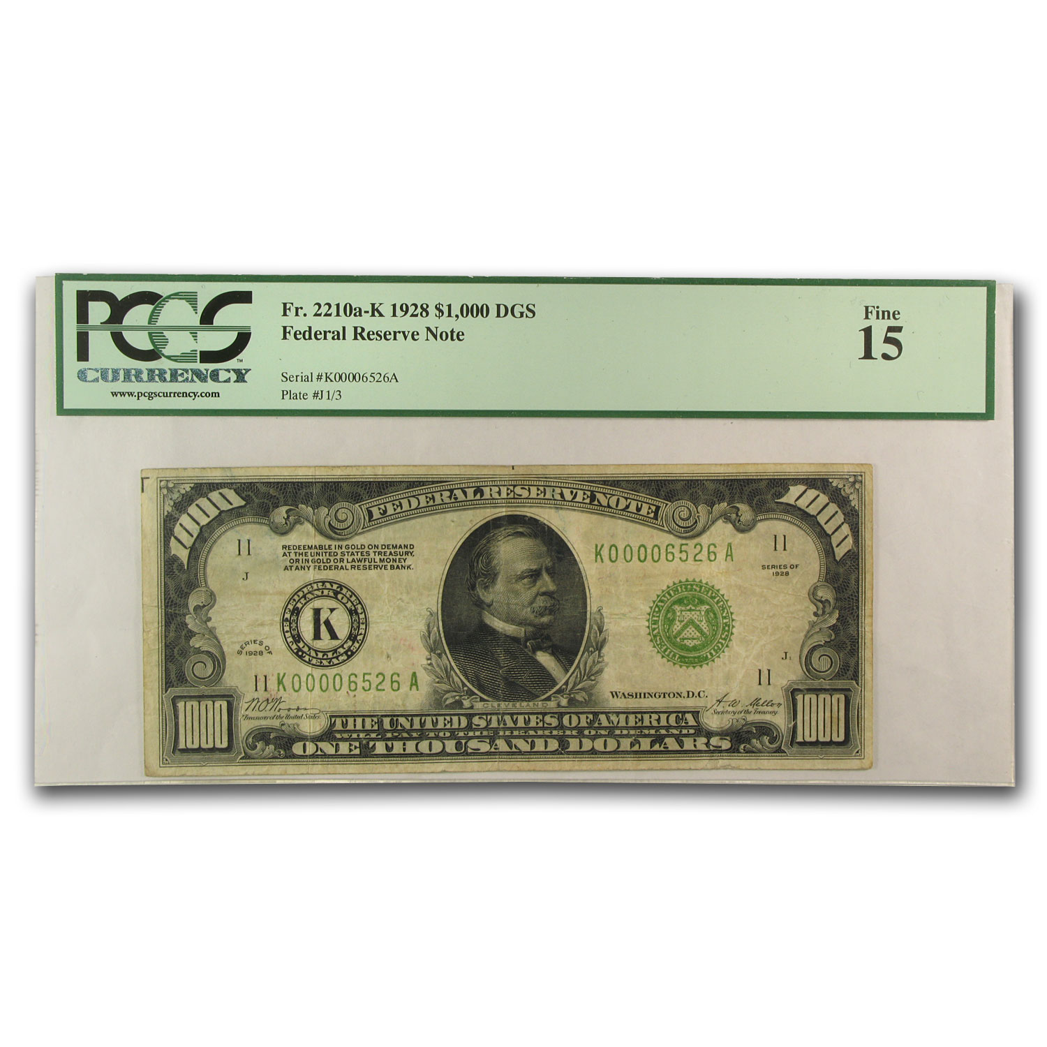 1928 (K-Dallas) $1,000 FRN PMGS Fine-15)