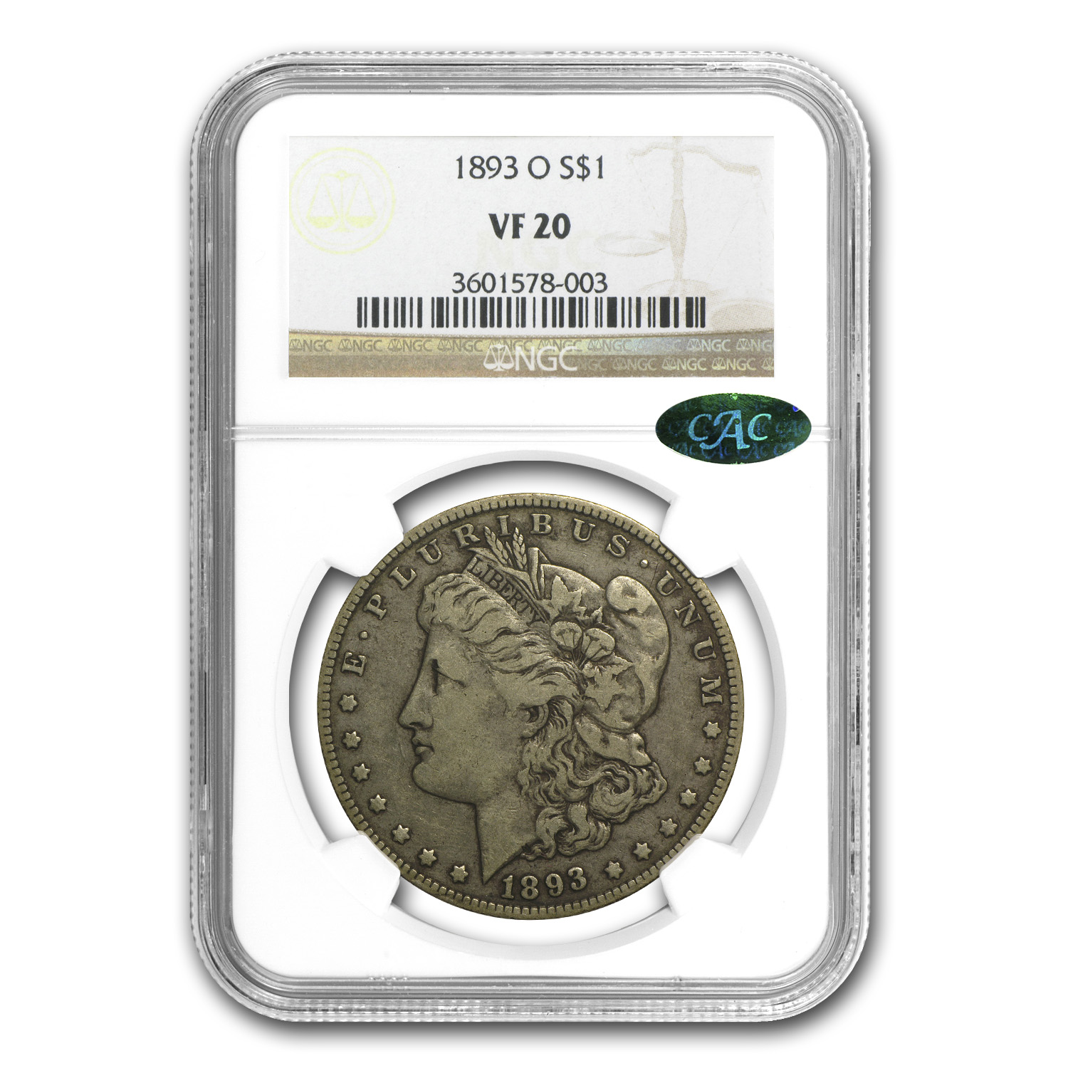 1893-O Morgan Dollar VF-20 NGC (CAC)