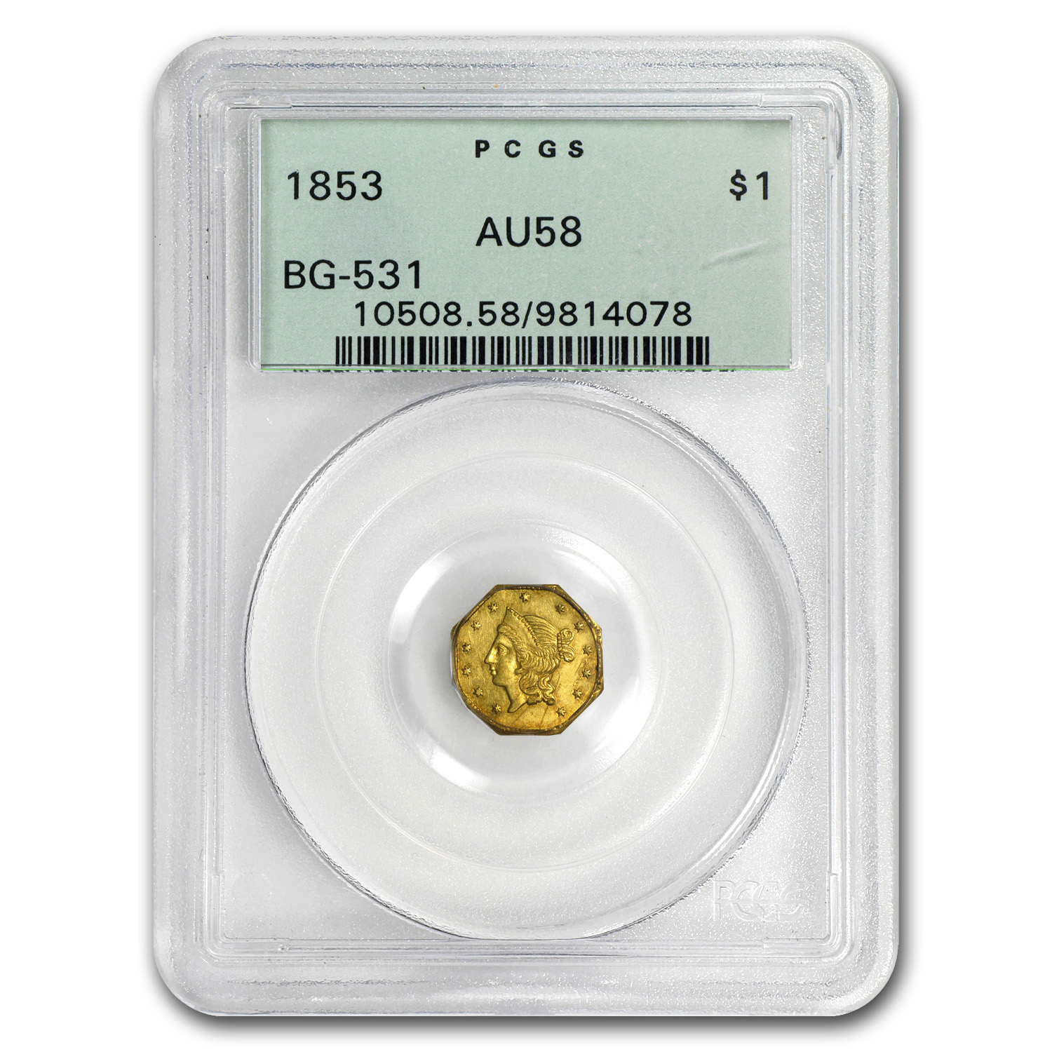 1853 BG-531 Liberty Octagonal One Dollar Gold AU-58 PCGS