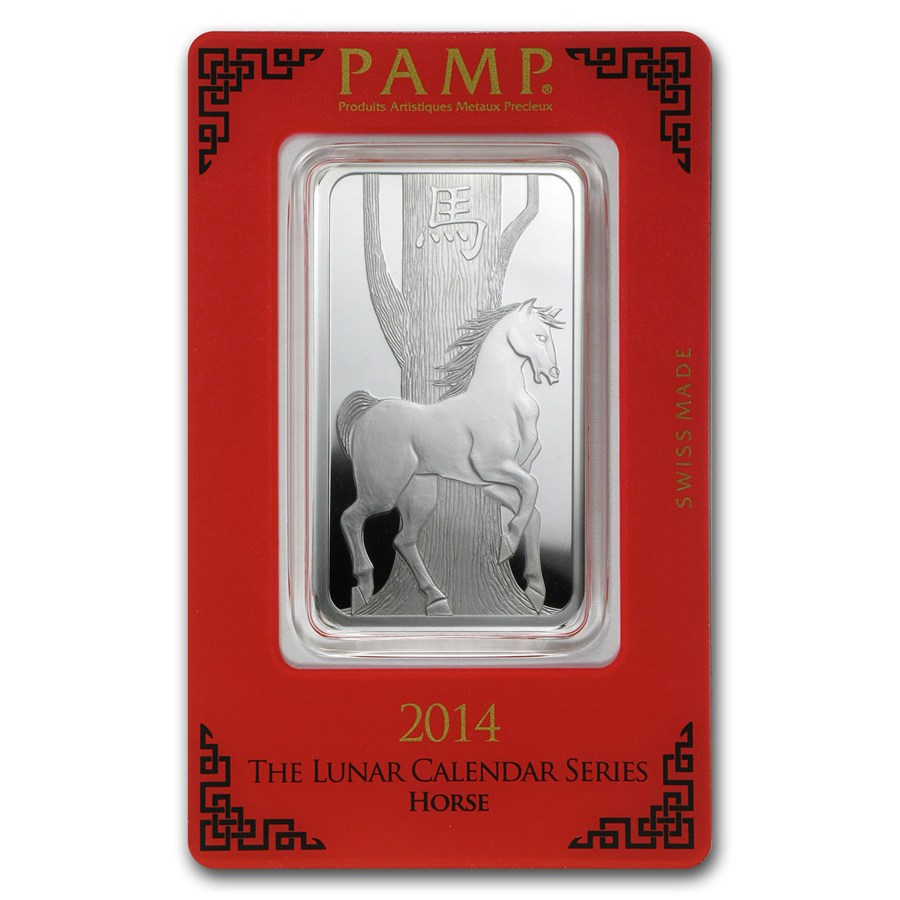 1 Oz Silver Bar Pamp Suisse Year Of The Horse Pamp