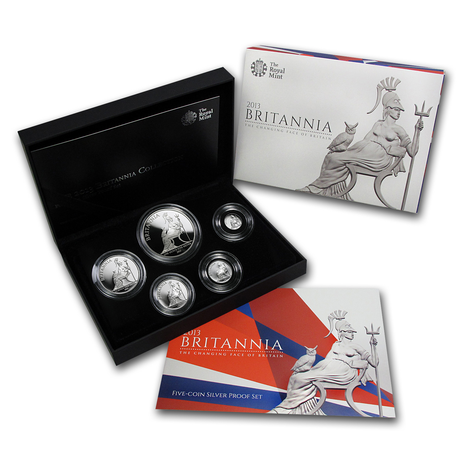 2013 GB 5-Coin Silver Britannia Proof Set (w/Box & COA)