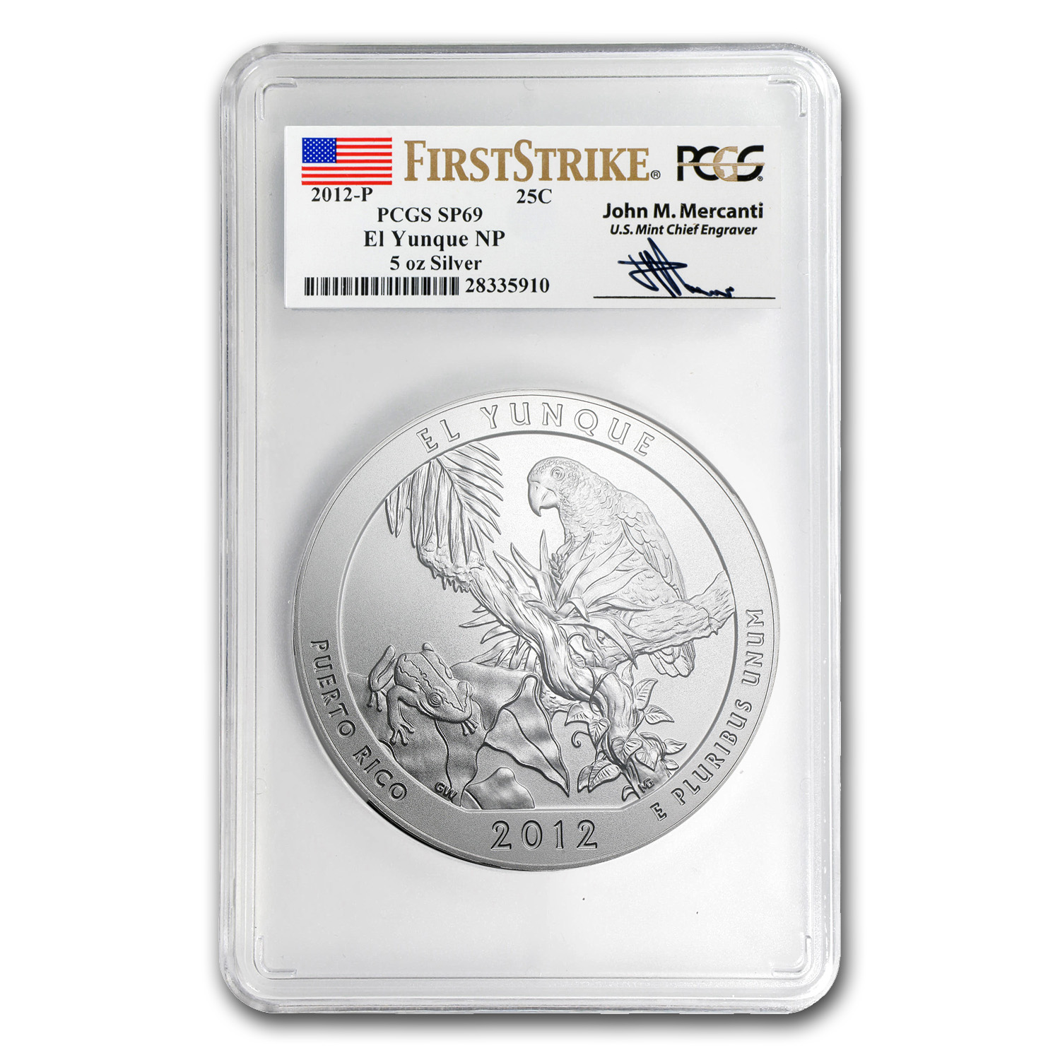 2012-P 5 oz El Yunque SP-69 First Strike PCGS John Mercanti Label