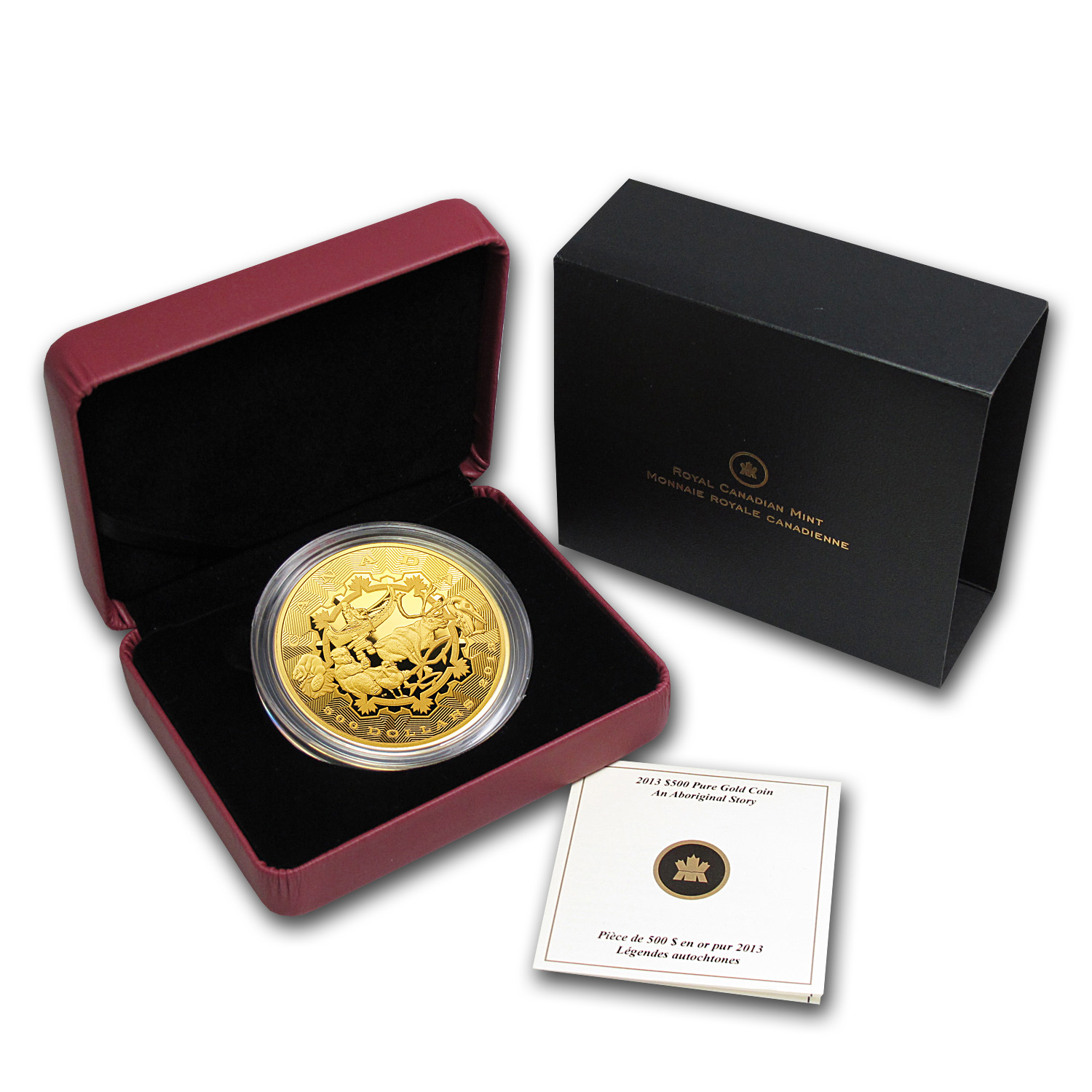 2013 Canada 5 oz Proof Gold $500 An Aboriginal Story