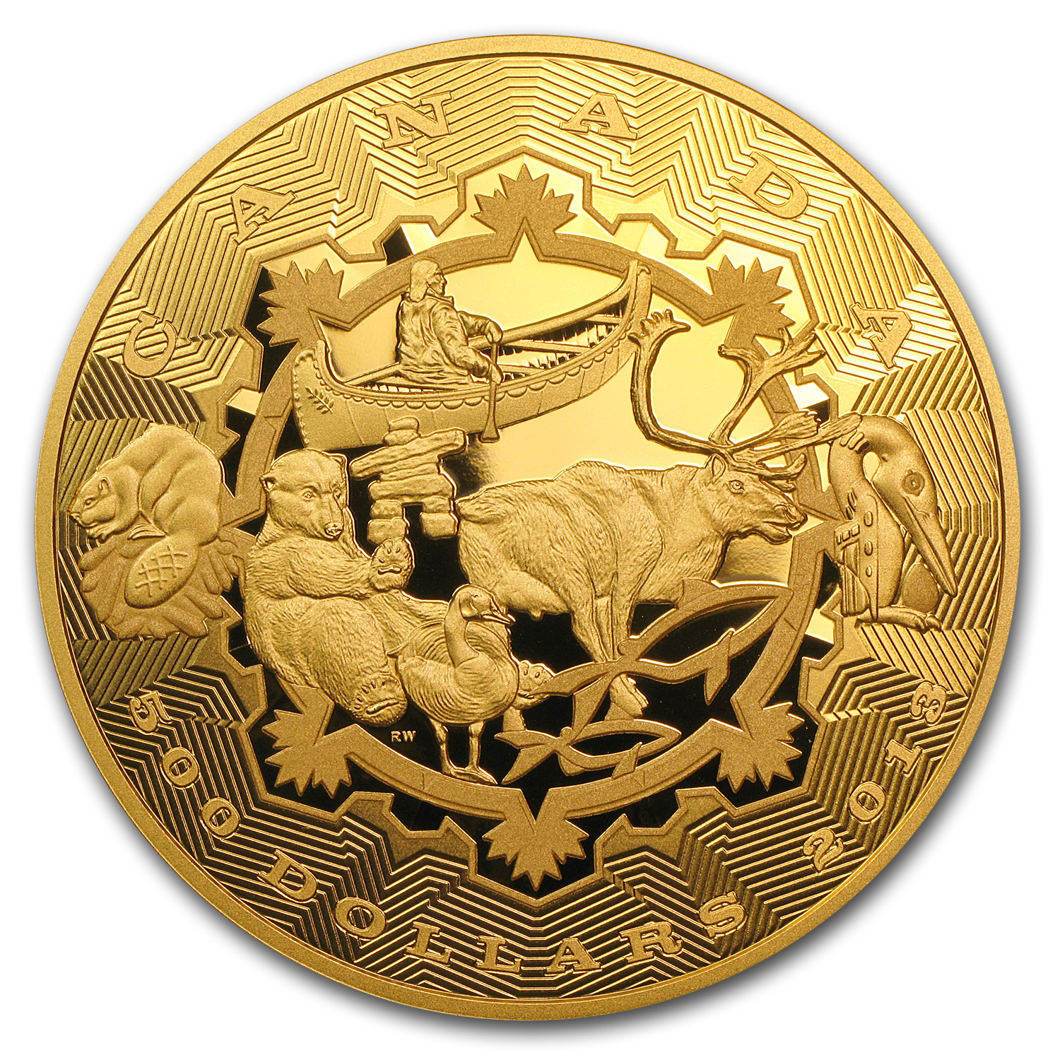 2013 5 oz Gold Canadian $500 - An Aboriginal Story