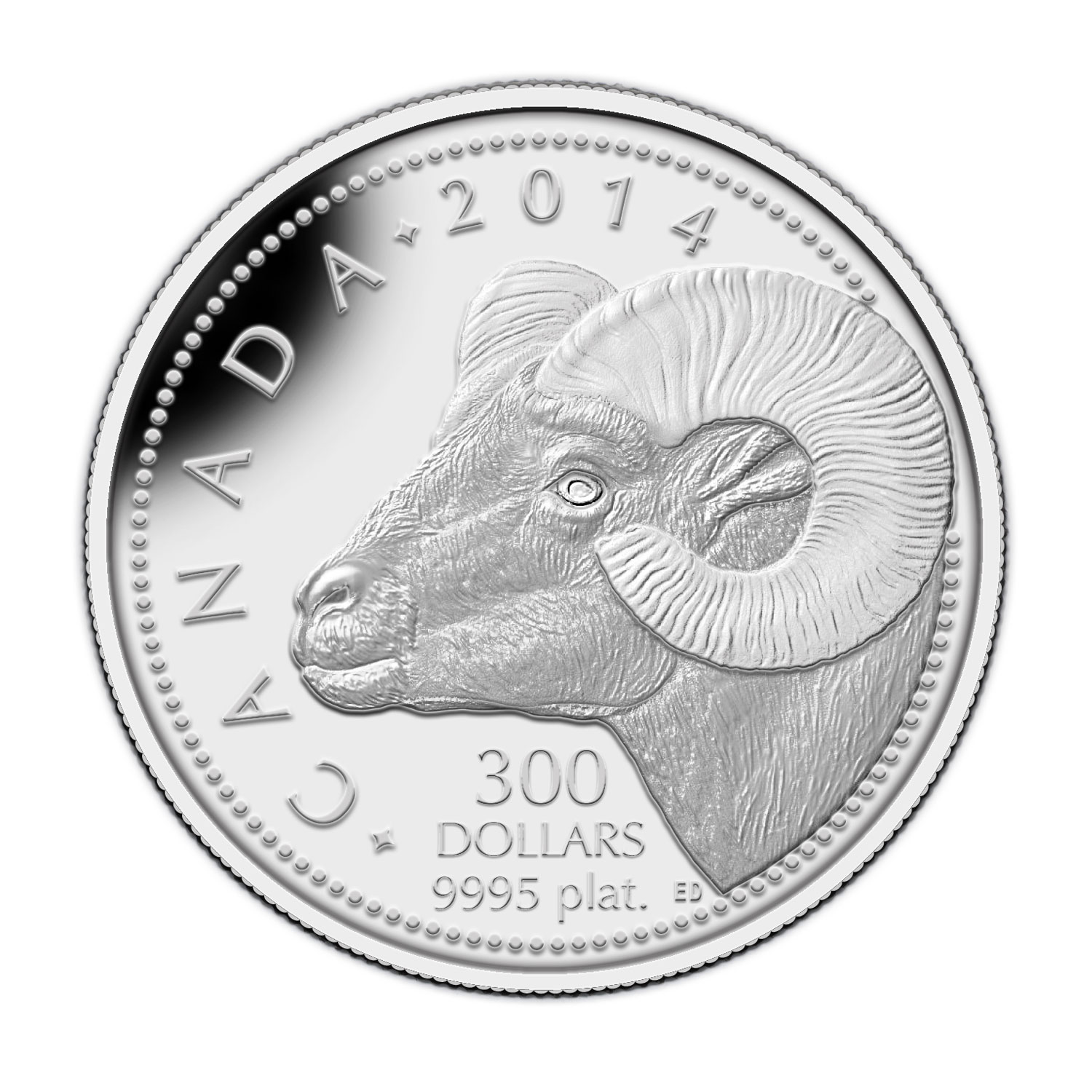 2014 1 oz Platinum Canadian $300 - Rocky Mountain Bighorn Sheep