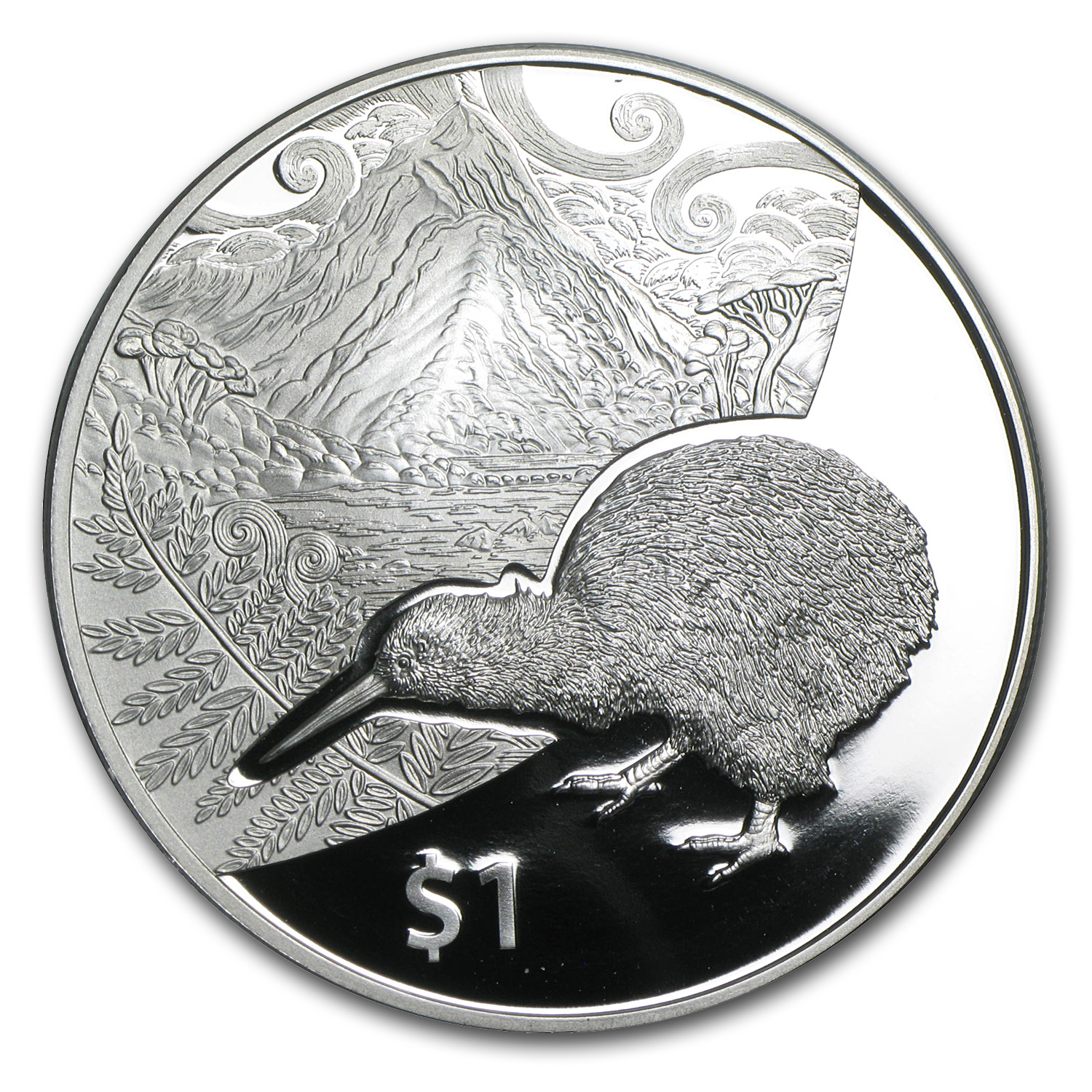 2014 1 oz Silver Proof New Zealand Treasures $1 Kiwi Coin