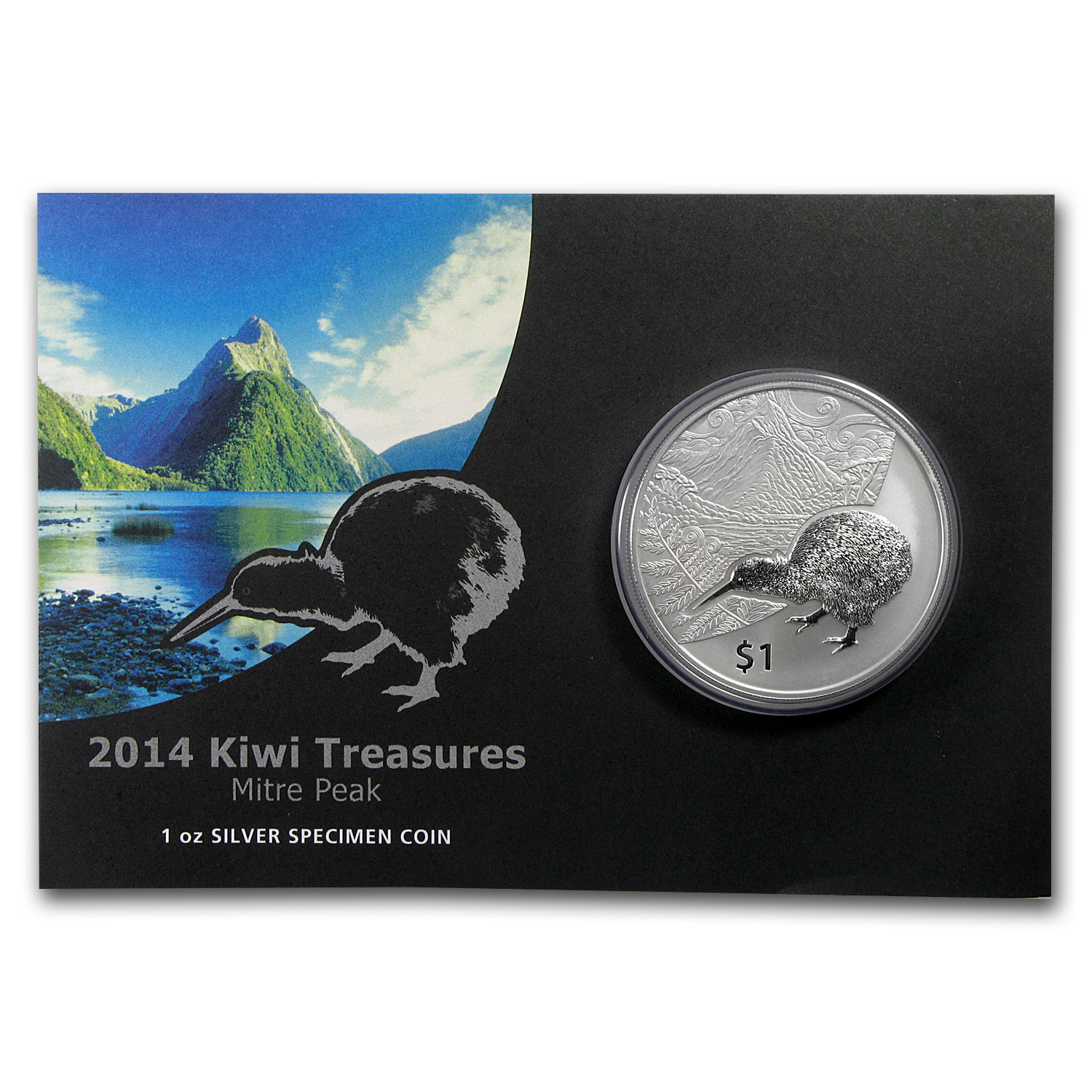 2014 New Zealand 1 oz Silver Treasures $1 Kiwi Specimen