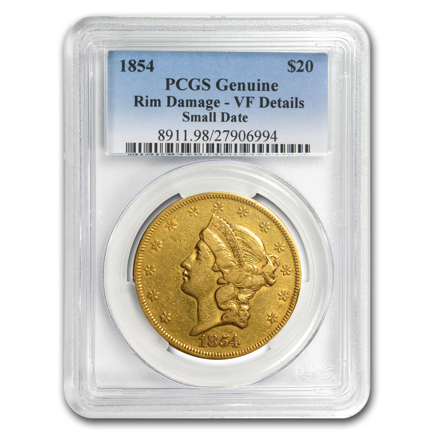 1854/1854 $20 Liberty Gold Double Eagle VF Details PCGS
