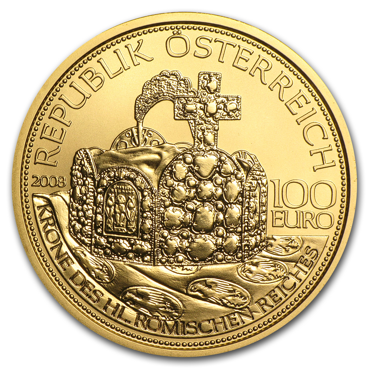 2008 Crown of The Holy Roman Empire 100 Euro Proof Gold Coin