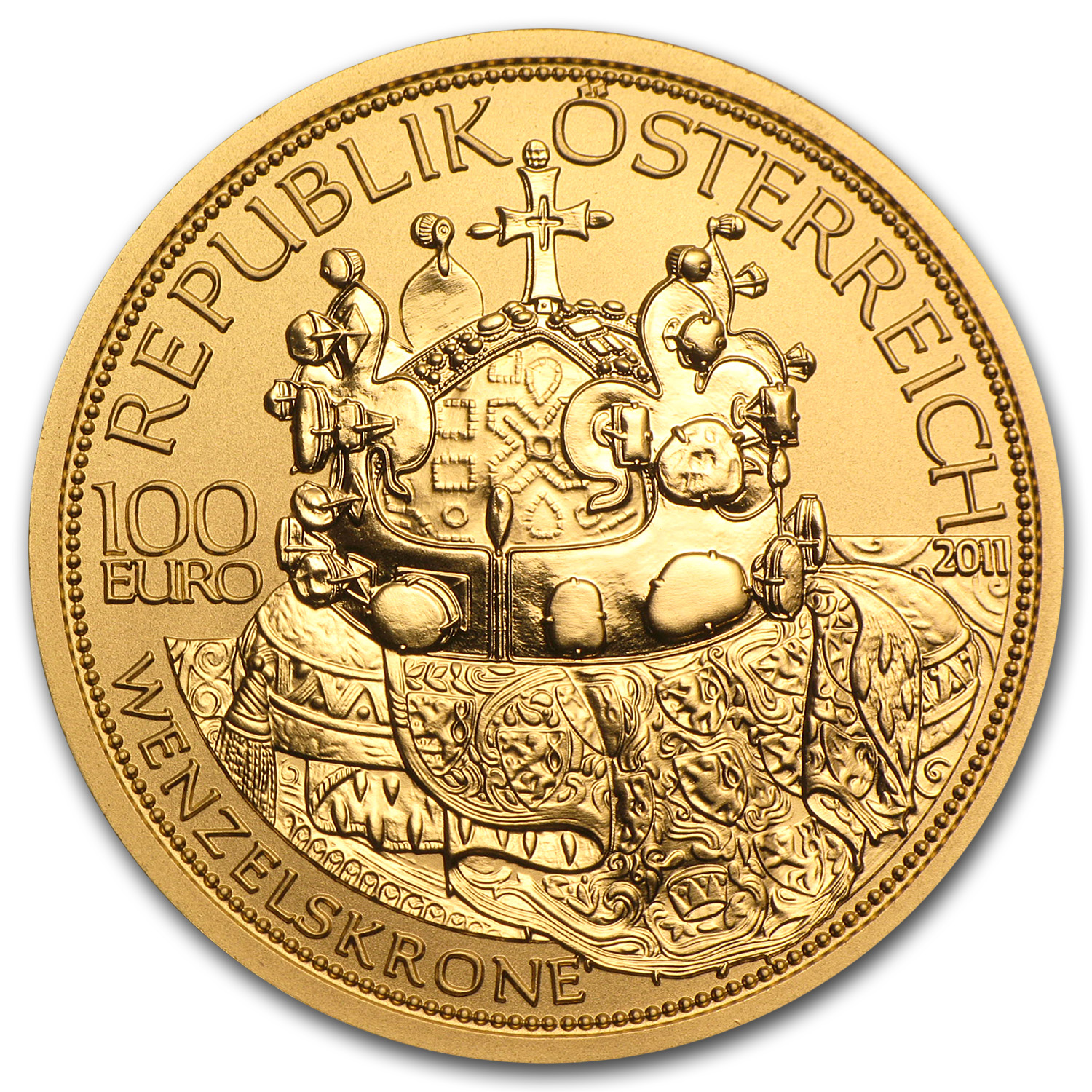 2011 The Crown of St Wenceslas 100 Euro Gold Coin AGW 0.5072