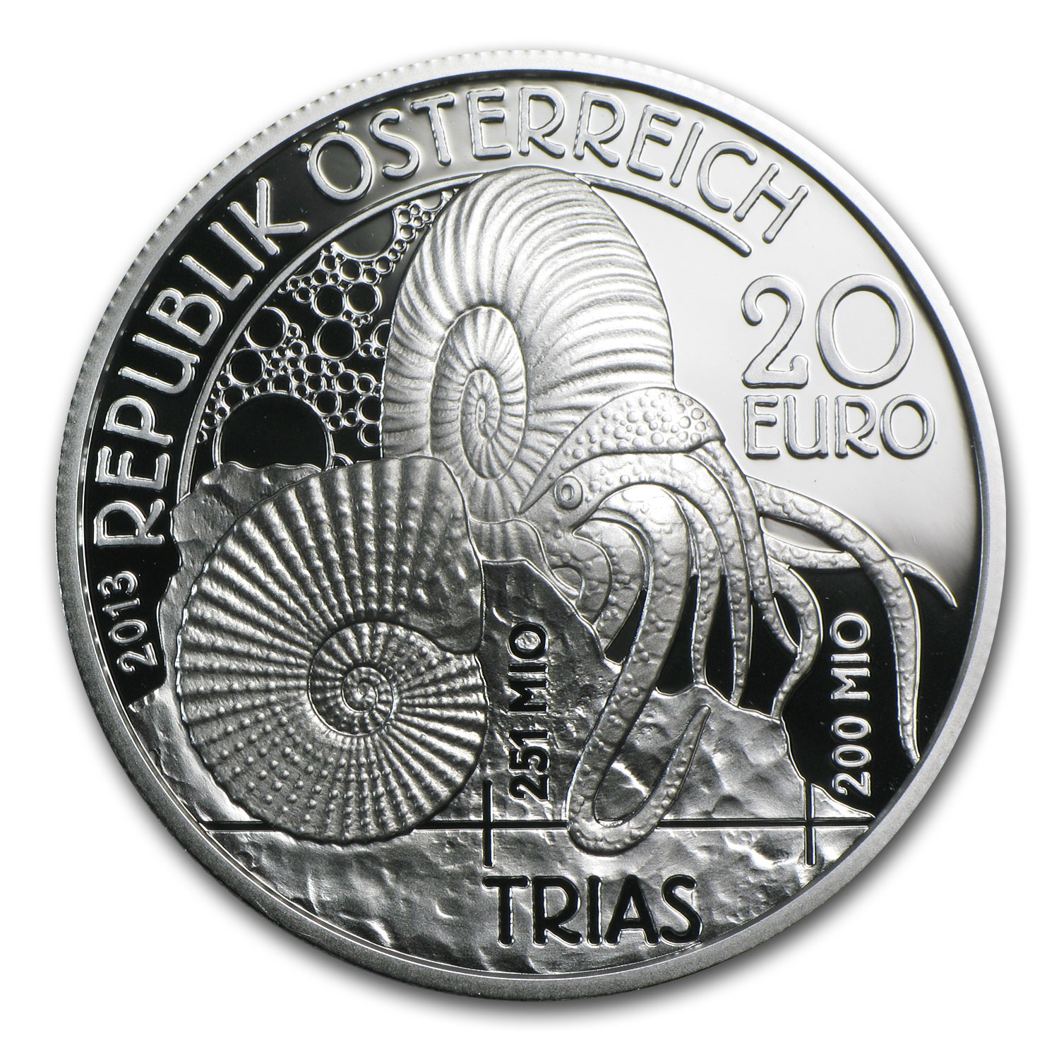 2013 Triassic 'Life In The Water' 20 Euro Silver Coin ASW 0.5209