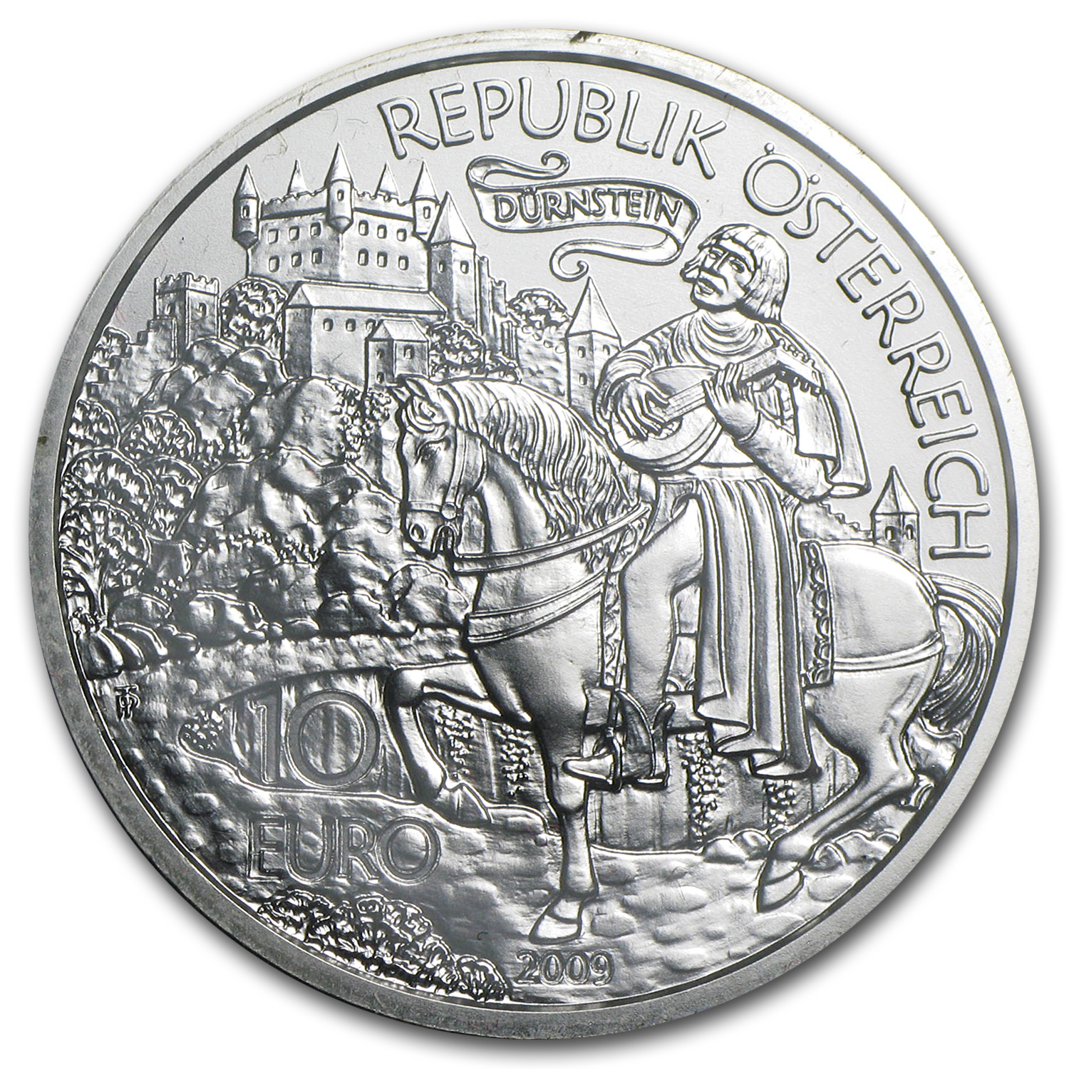 2009 Richard the Lionheart in Duernstein 10 Euro Silver ASW 0.475